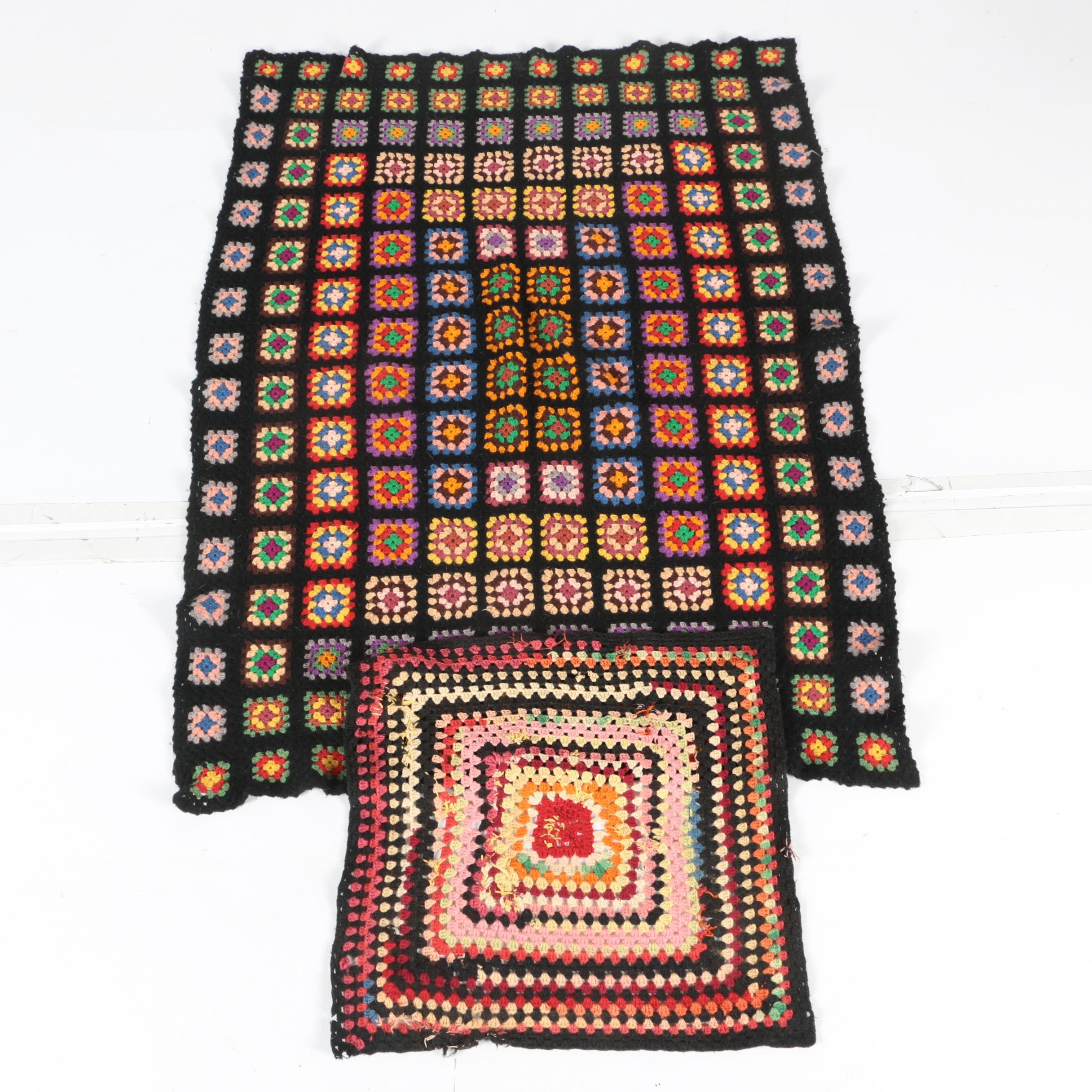 Colorful Knit Blanket and Decorative Piece