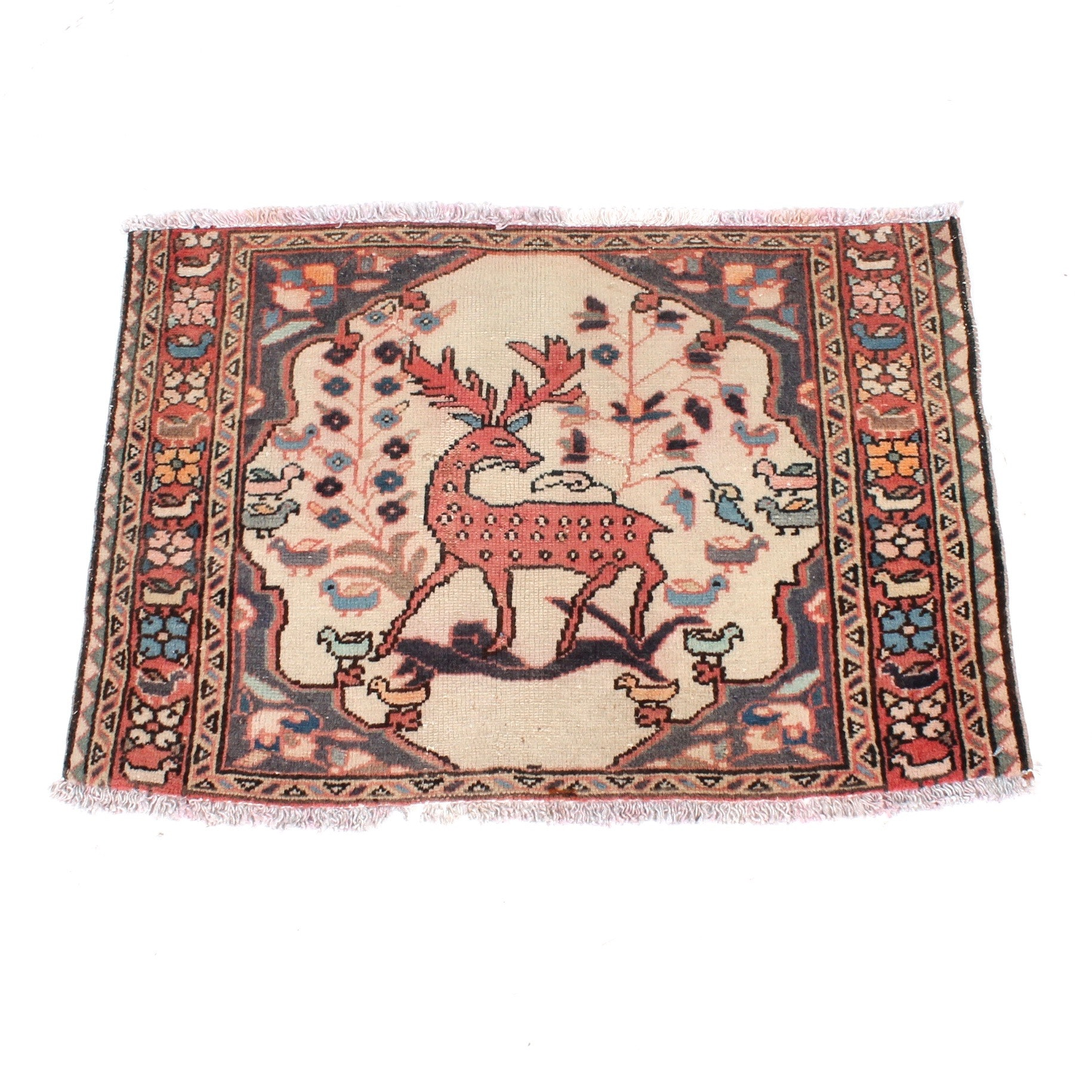 Semi-Antique Hand-Knotted Persian Malayer Pictorial Rug