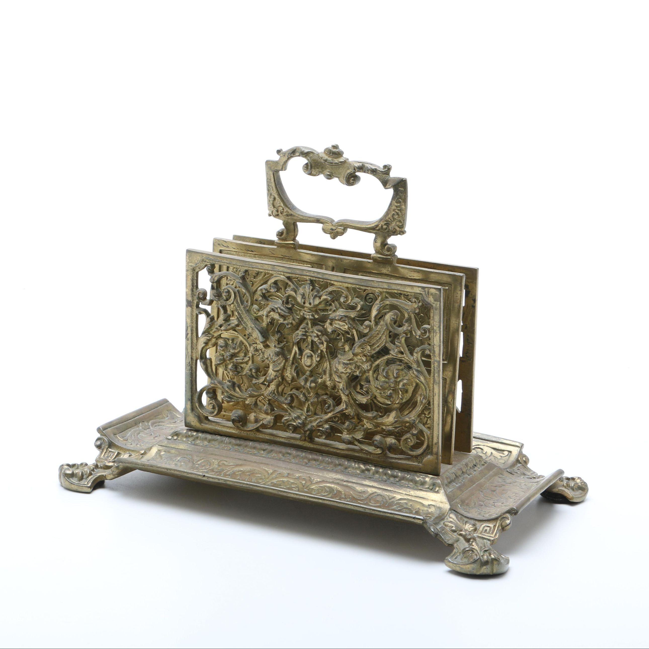 Antique Brass Letter Holder