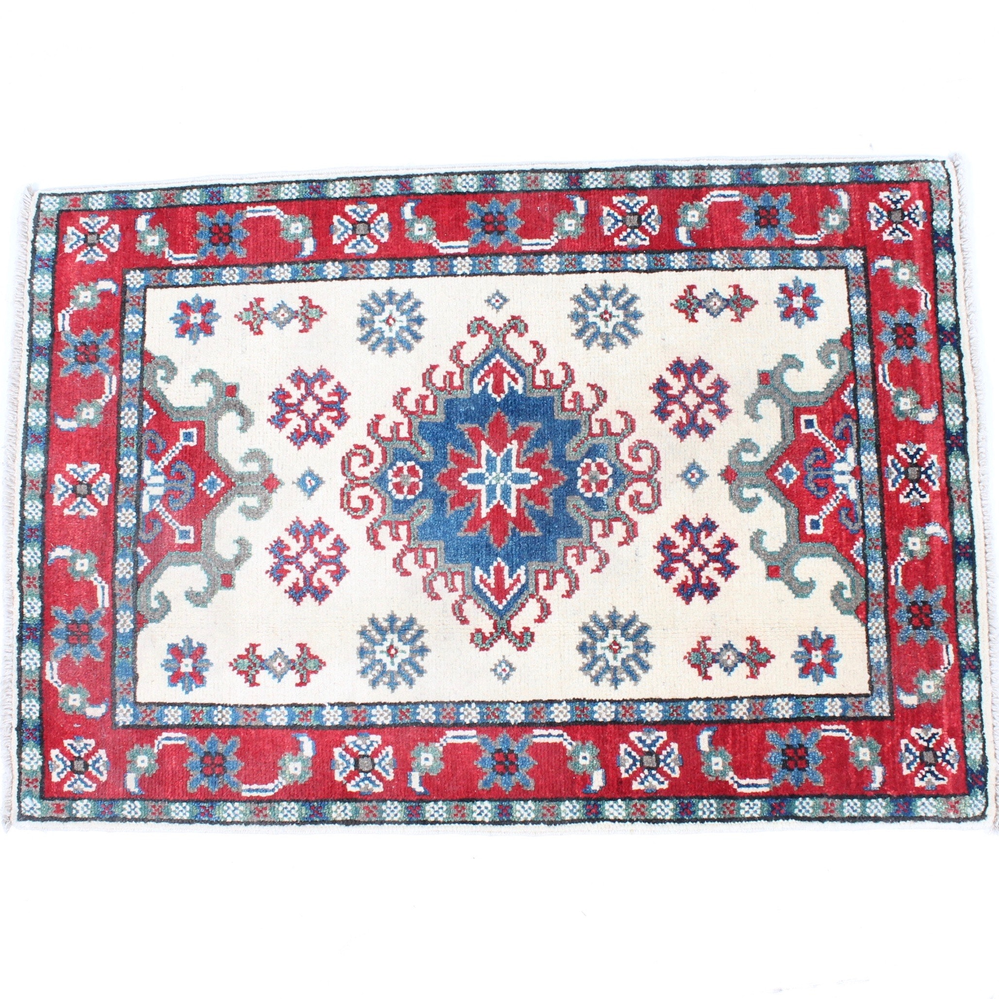 Fine Hand-Knotted Afghani-Caucasian Kazak Rug