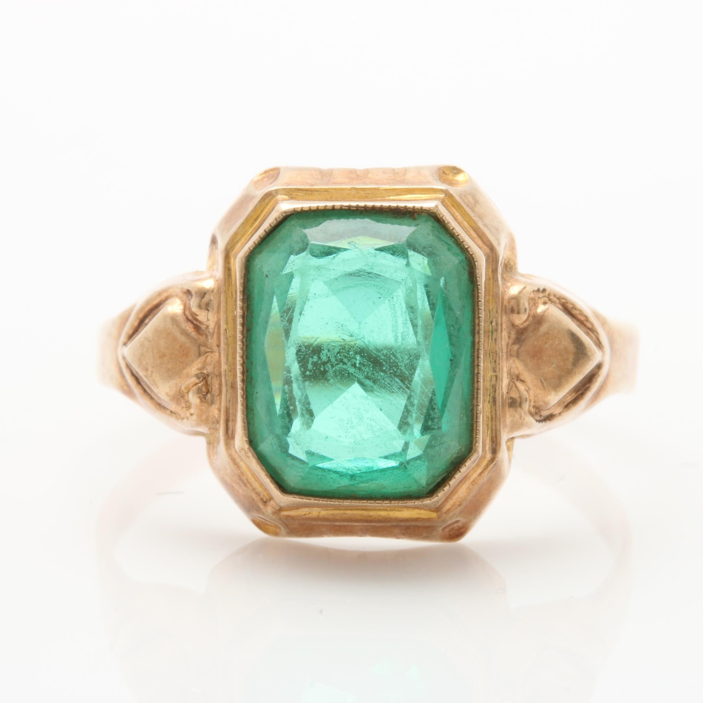 Ostby Barton 10K Yellow Gold Glass Ring