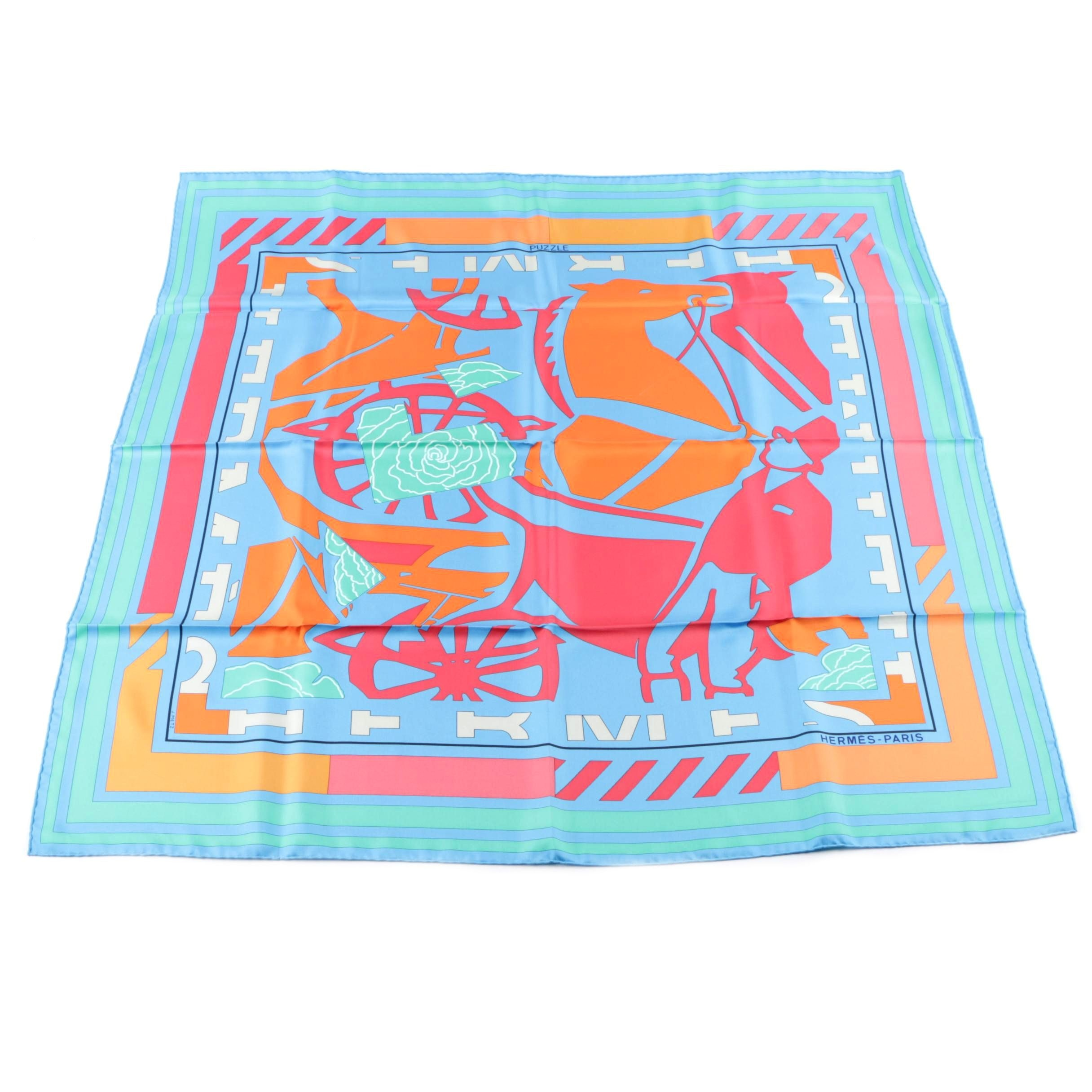 "Hermès of Paris ""Puzzle II"" Silk Scarf"