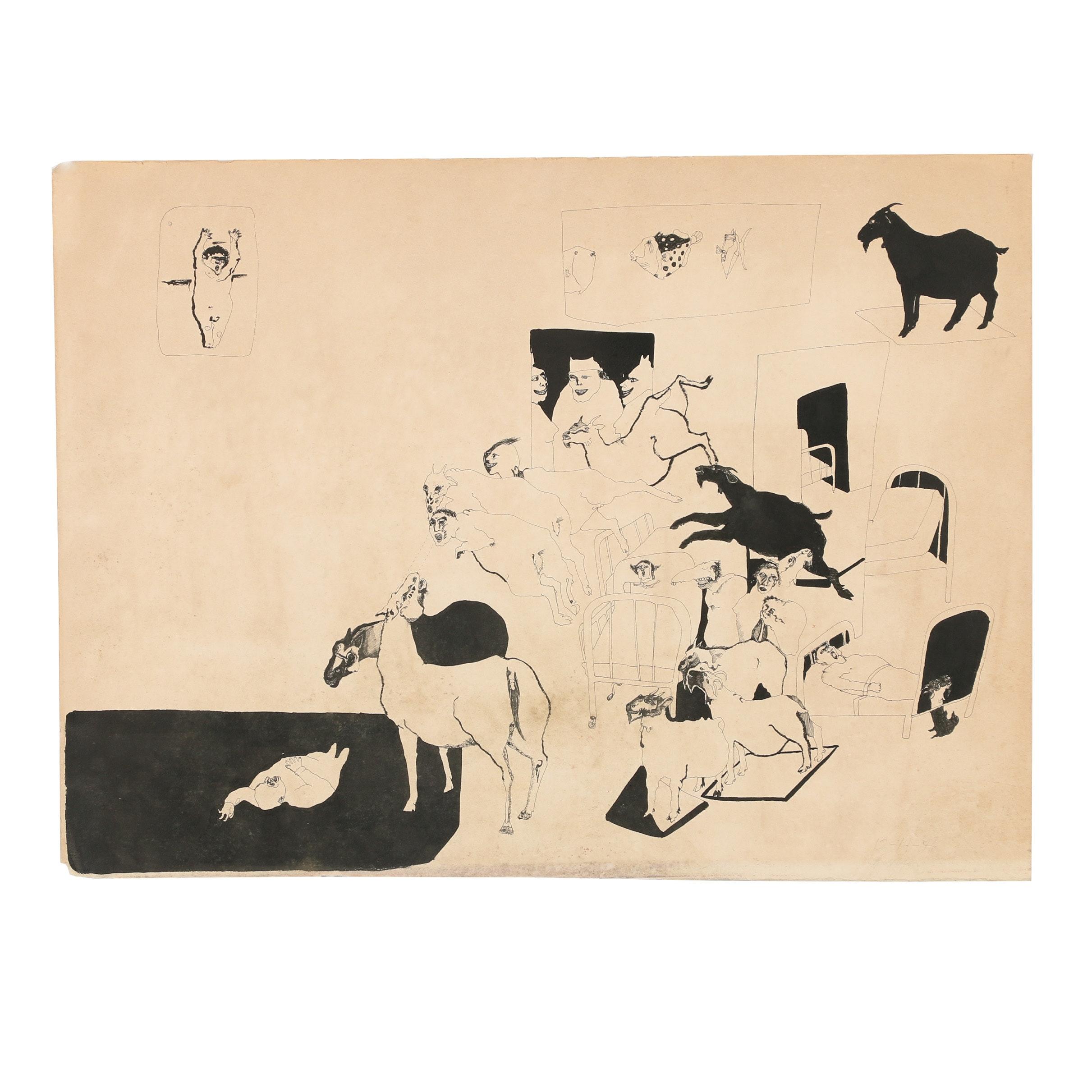 Robert Rivers 1976 Ink Drawing
