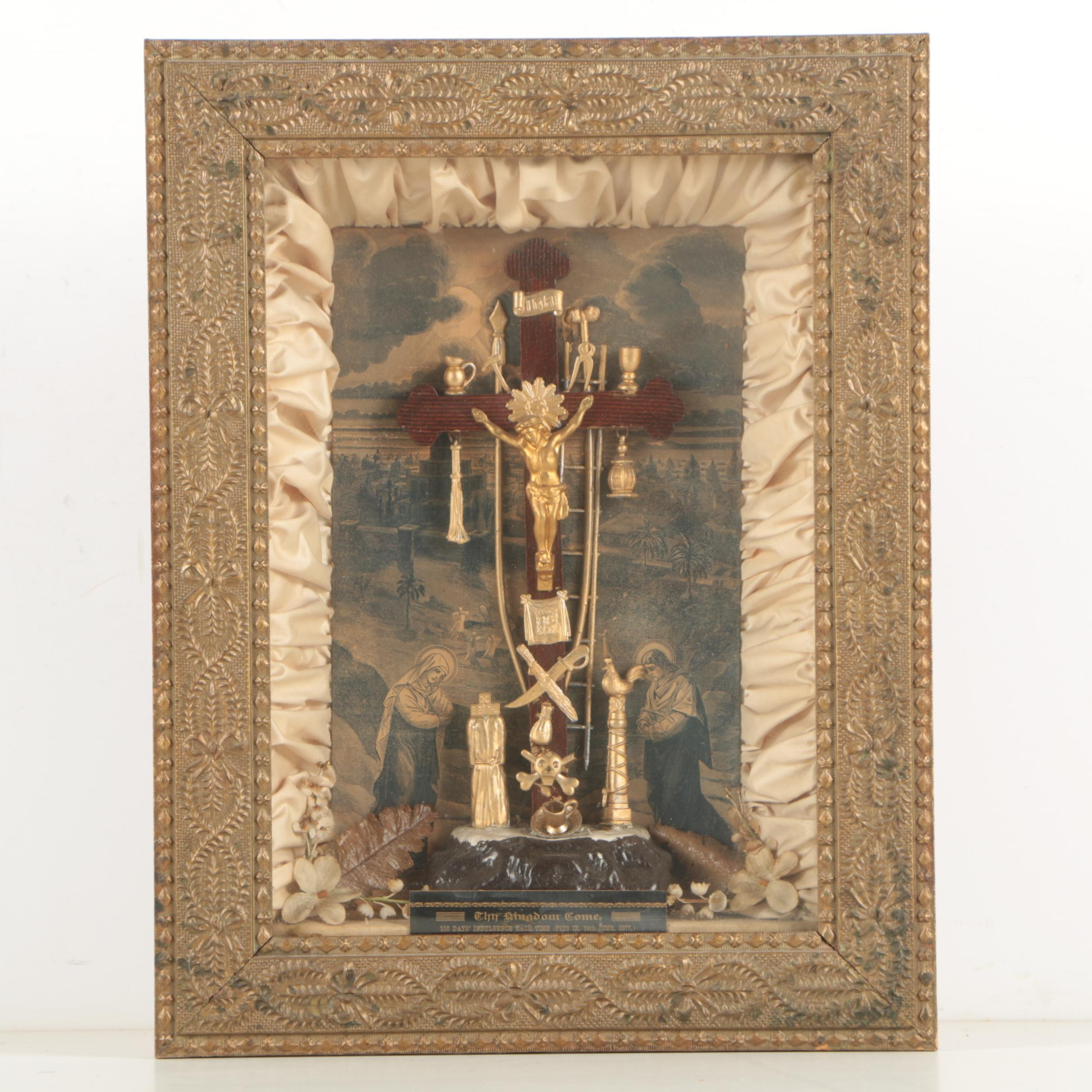 Antique Mixed Media Crucifix Wall Hanging