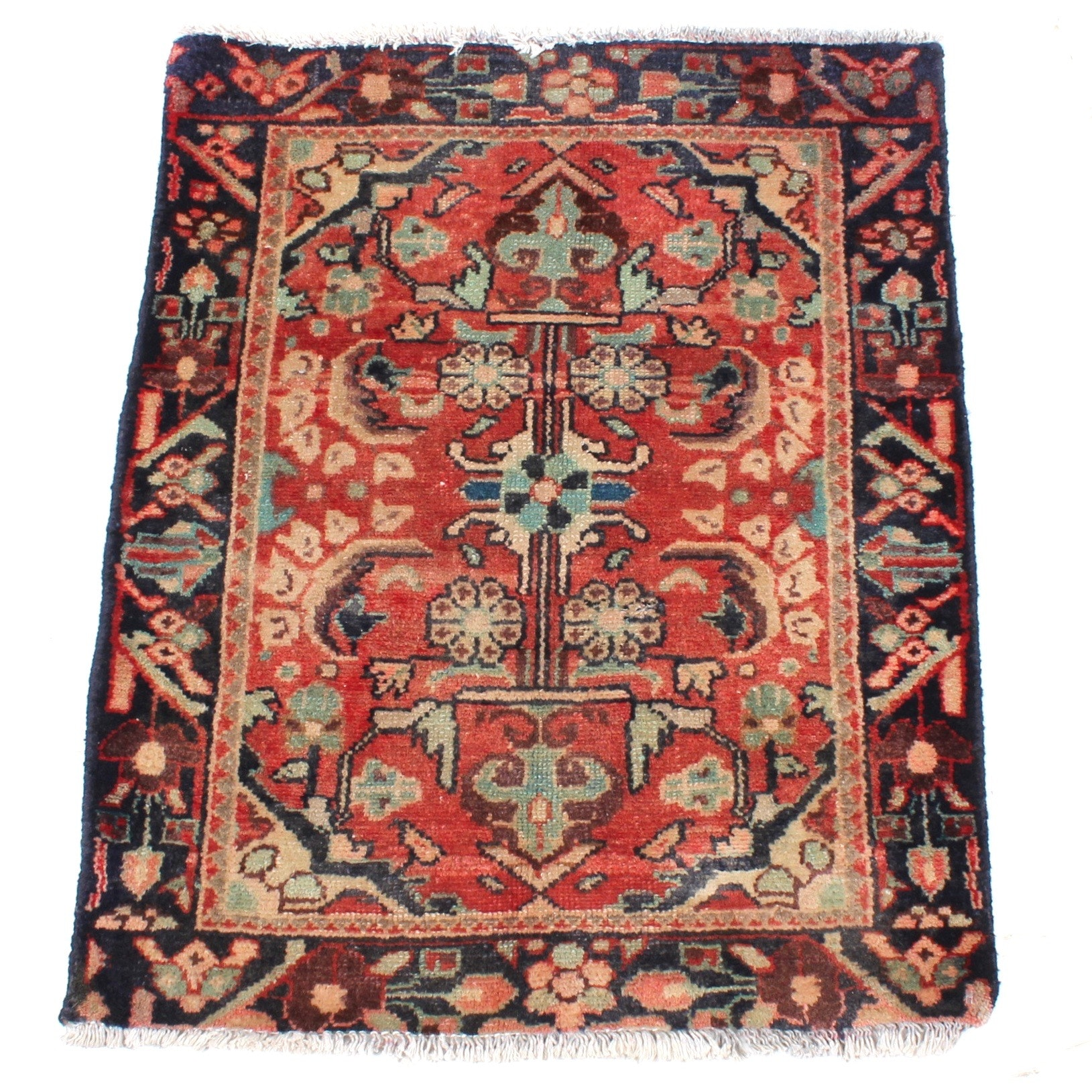 Semi-Antique Hand-Knotted Persian Malayer Rug