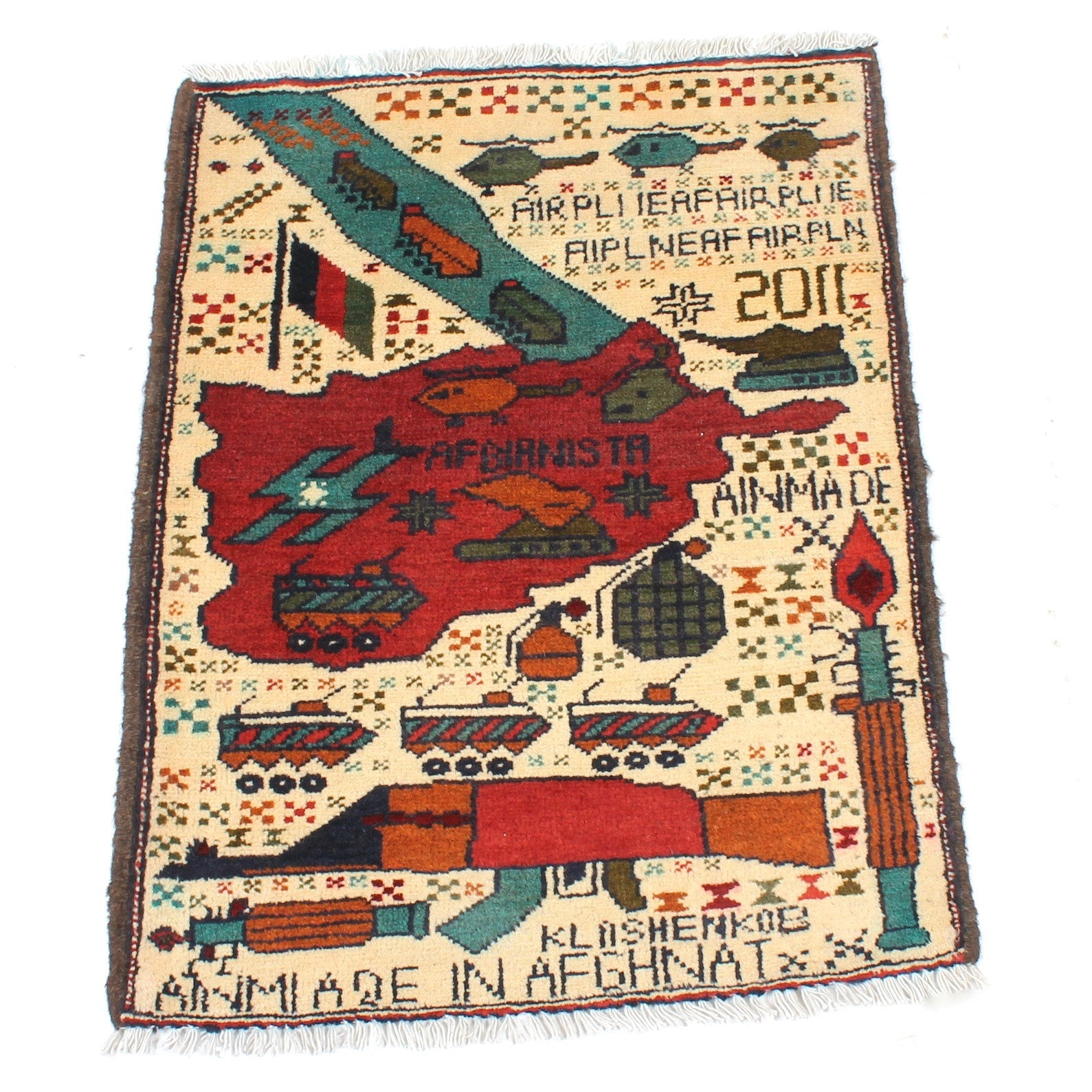 Hand-Knotted Afghani Pictorial War Rug