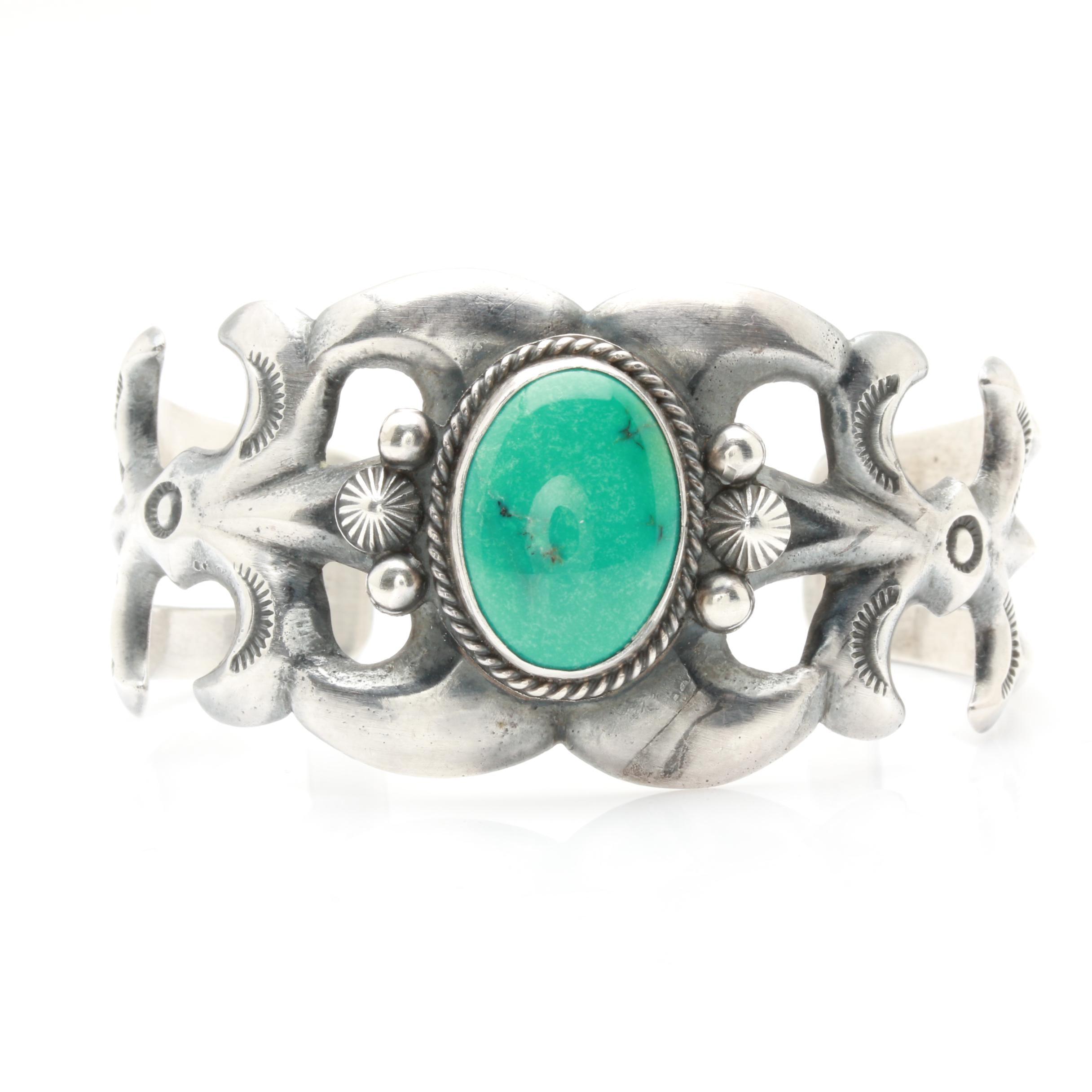 Harrison Bitsu Navajo Diné Sterling Silver Turquoise Cuff Bracelet