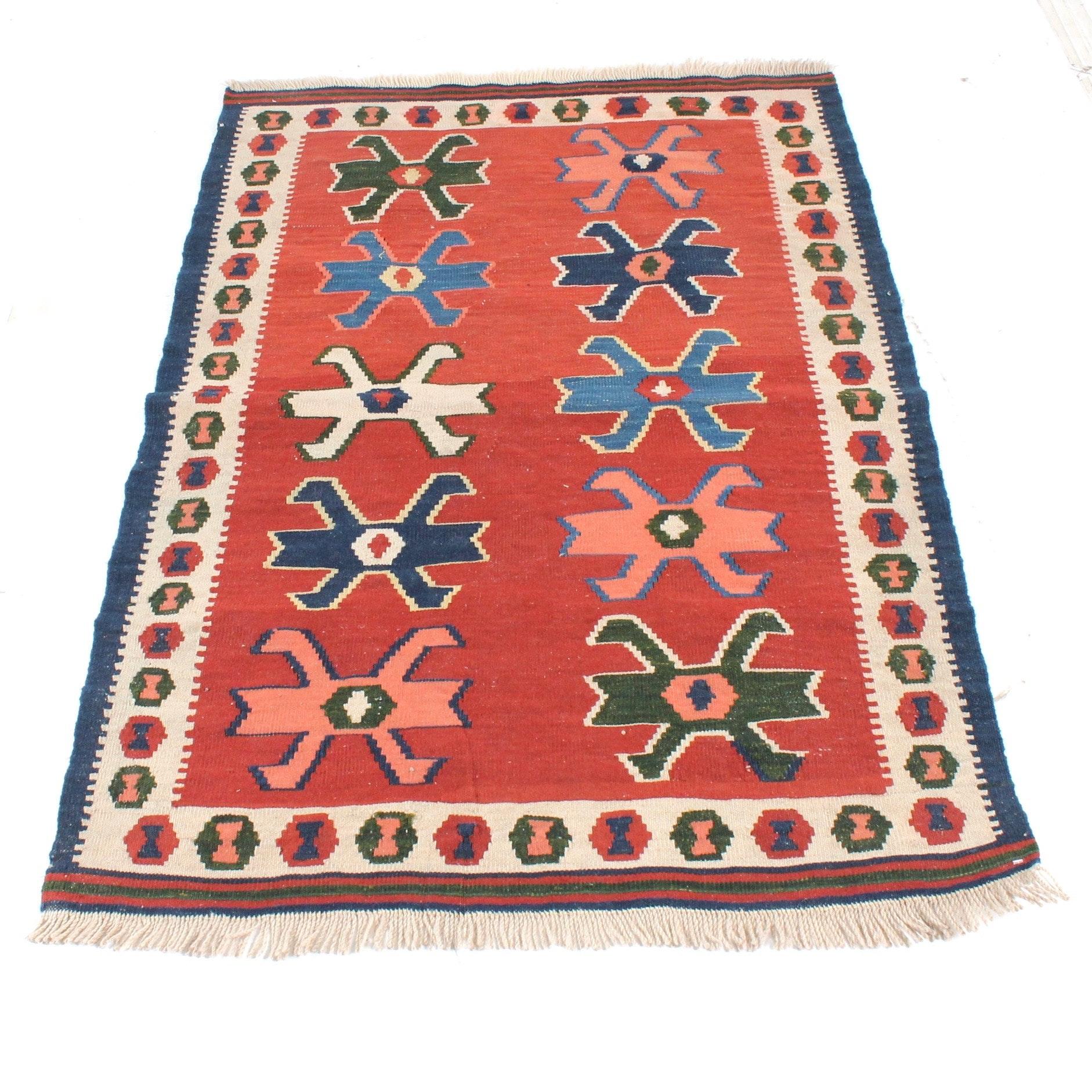 Semi-Antique Handwoven Persian Varamin Kilim Rug