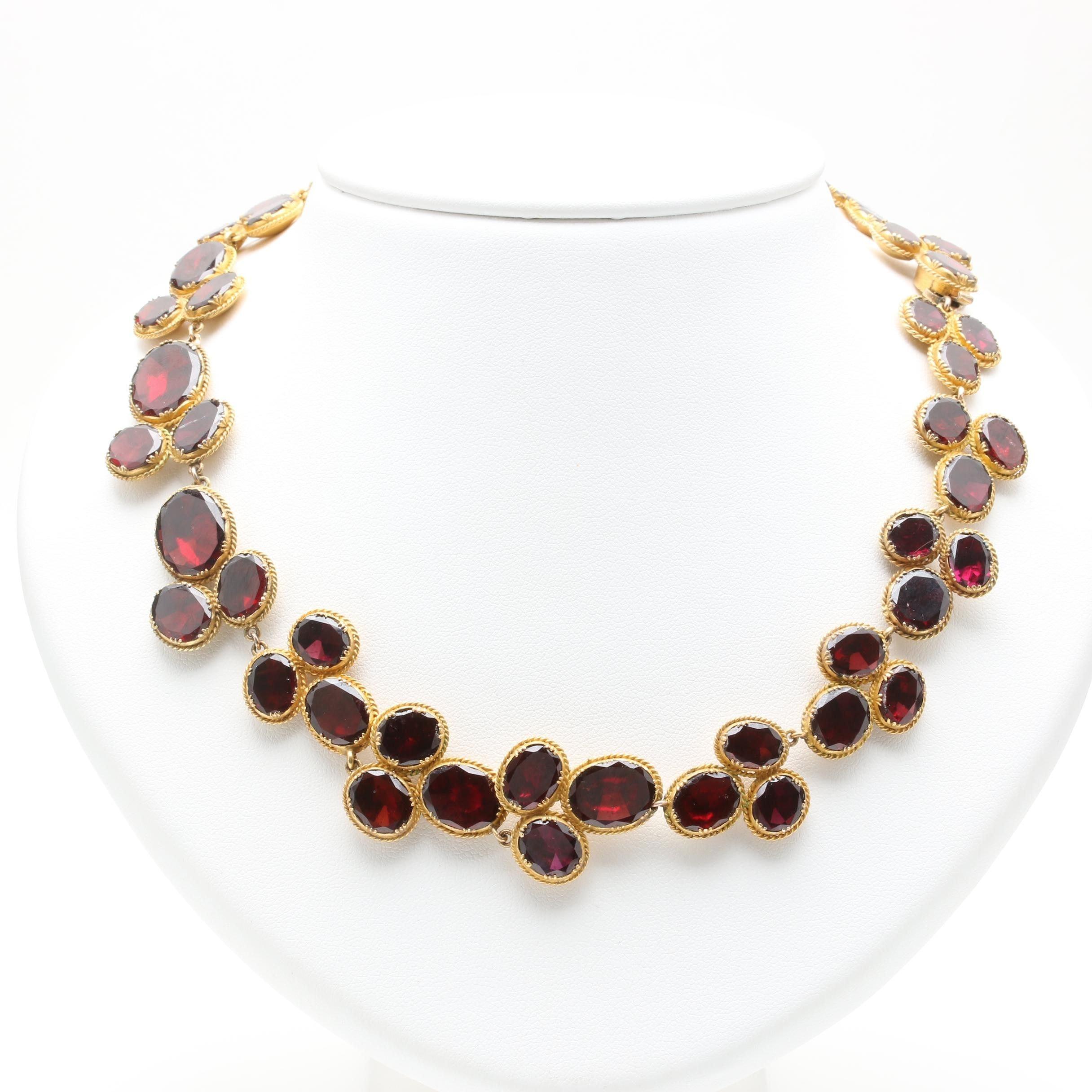 10K Yellow Gold Garnet Link Choker Necklace