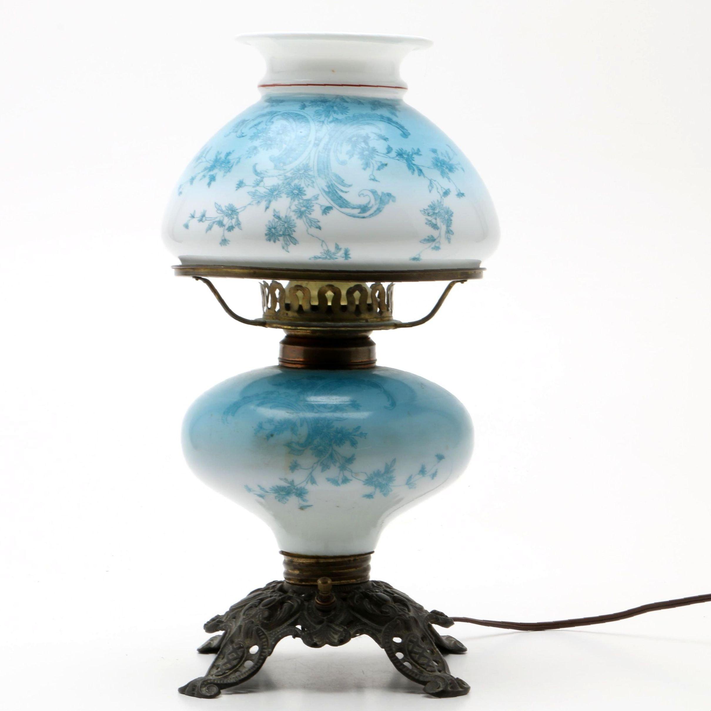 Converted Cast Iron  Vintage Oil Lamp