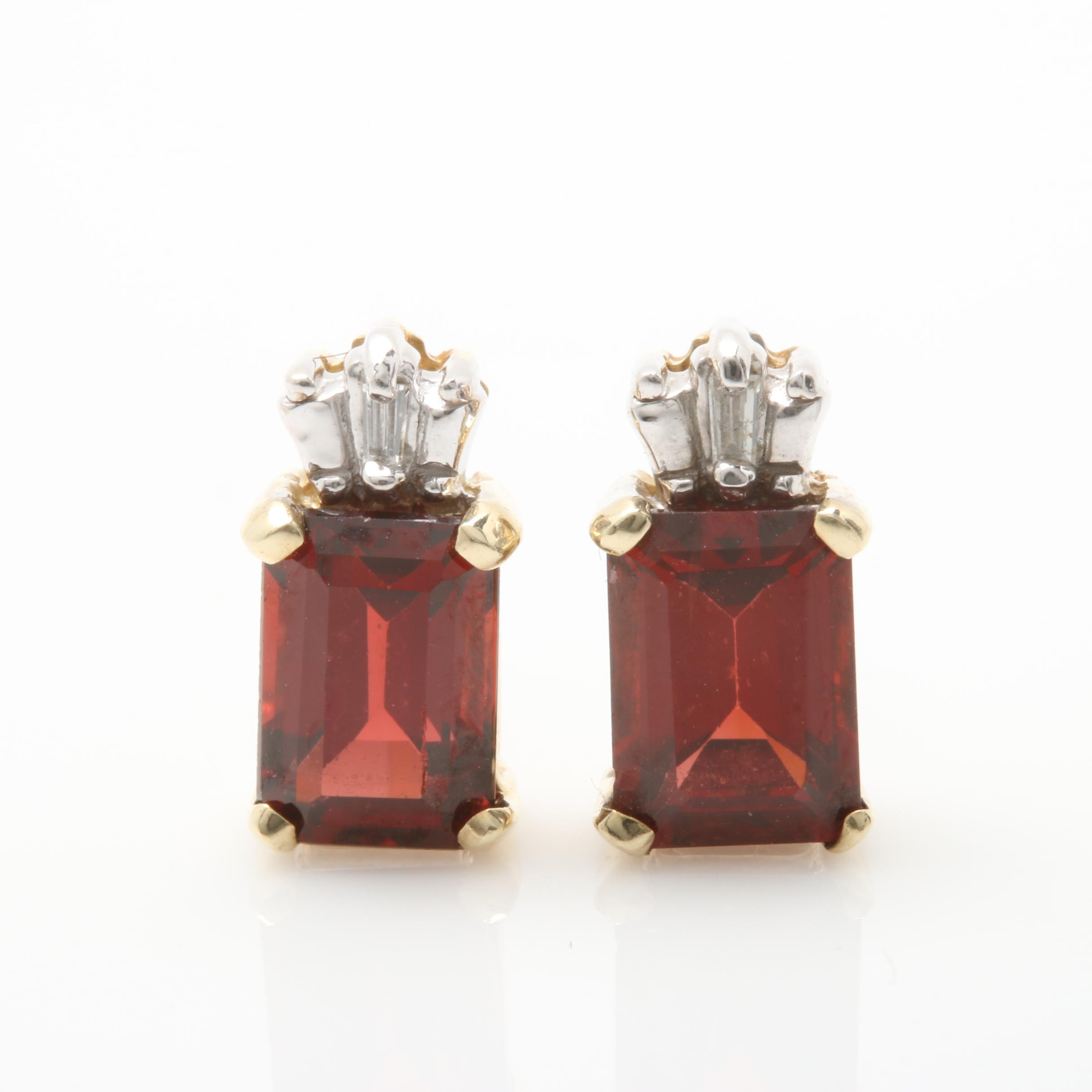10K Yellow Gold Garnet and Diamond Stud Earrings With 14K Yellow Gold Posts