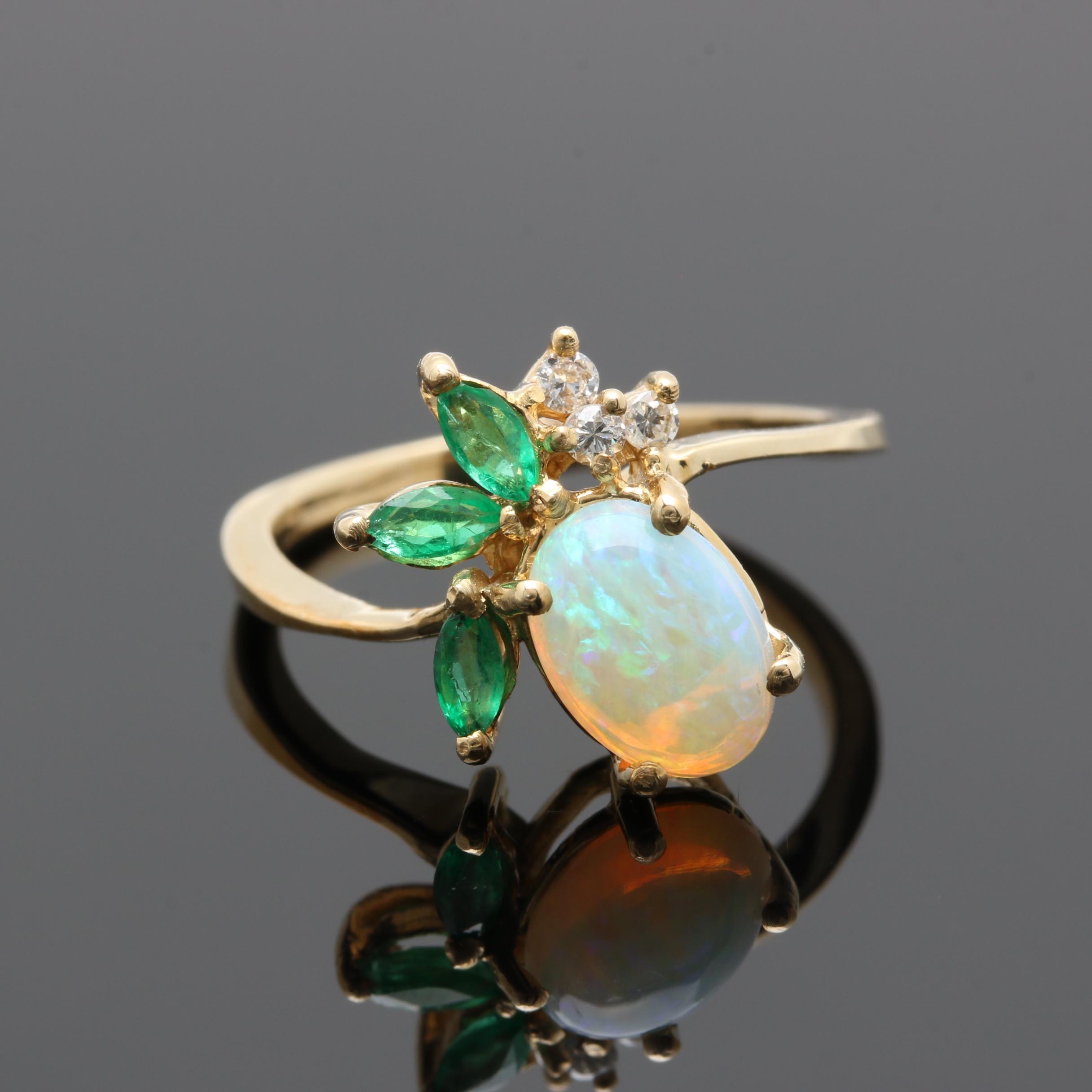 14K Yellow Gold Opal, Emerald, and Diamond Ring