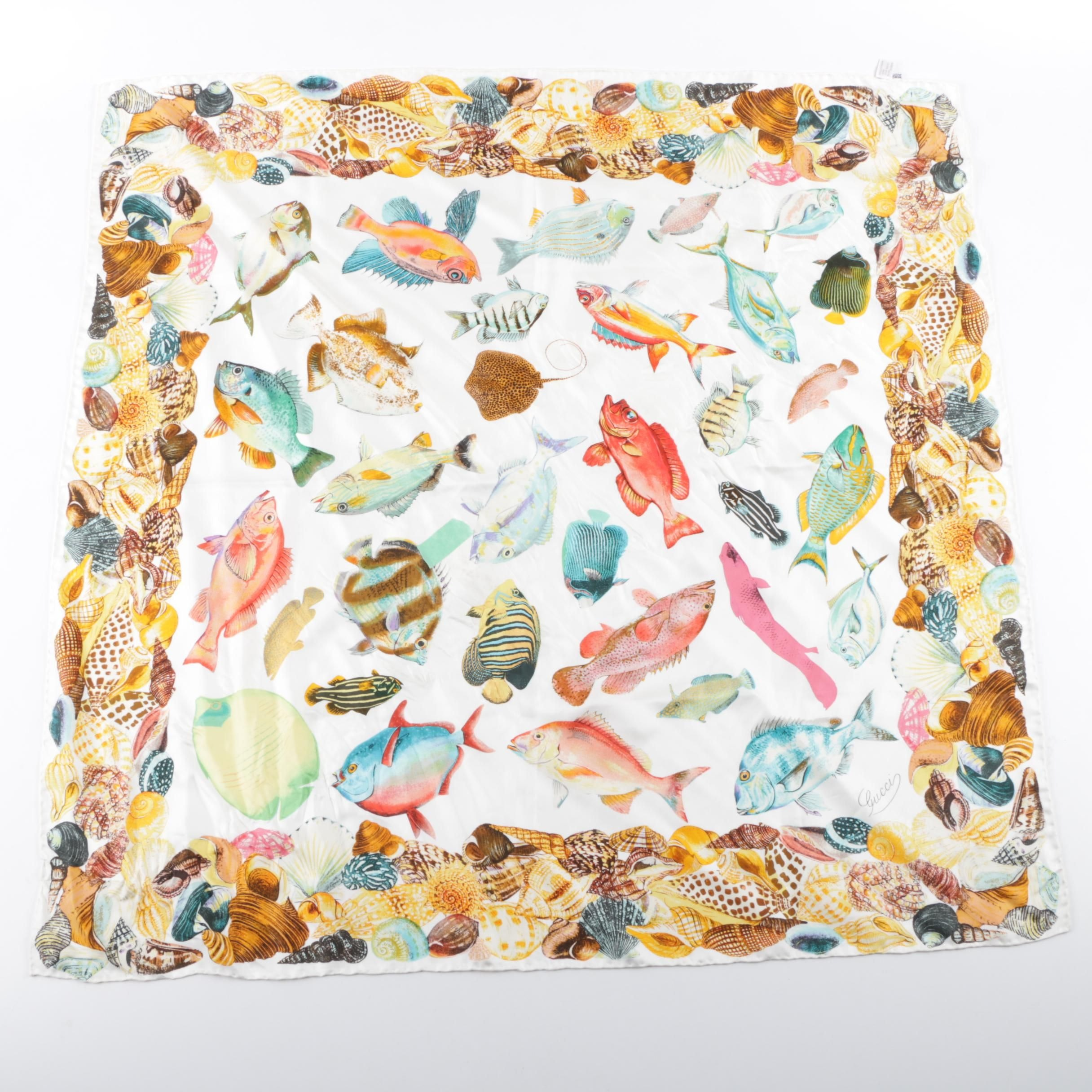 Gucci Multicolor Tropical Fish Silk Scarf