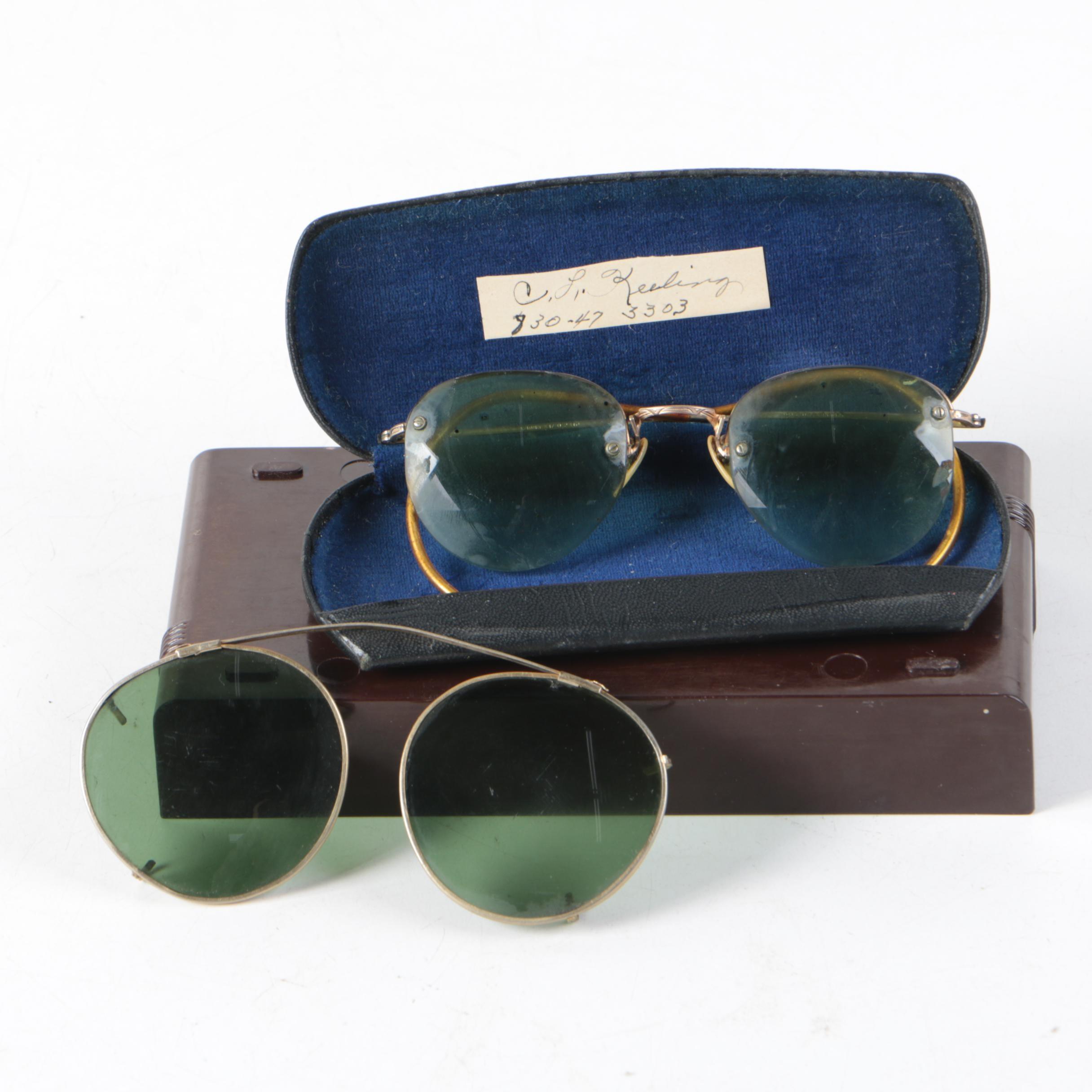 Vintage Shuron 12K Gold Filled Prescription Sunglasses and Clip-On Sunglasses