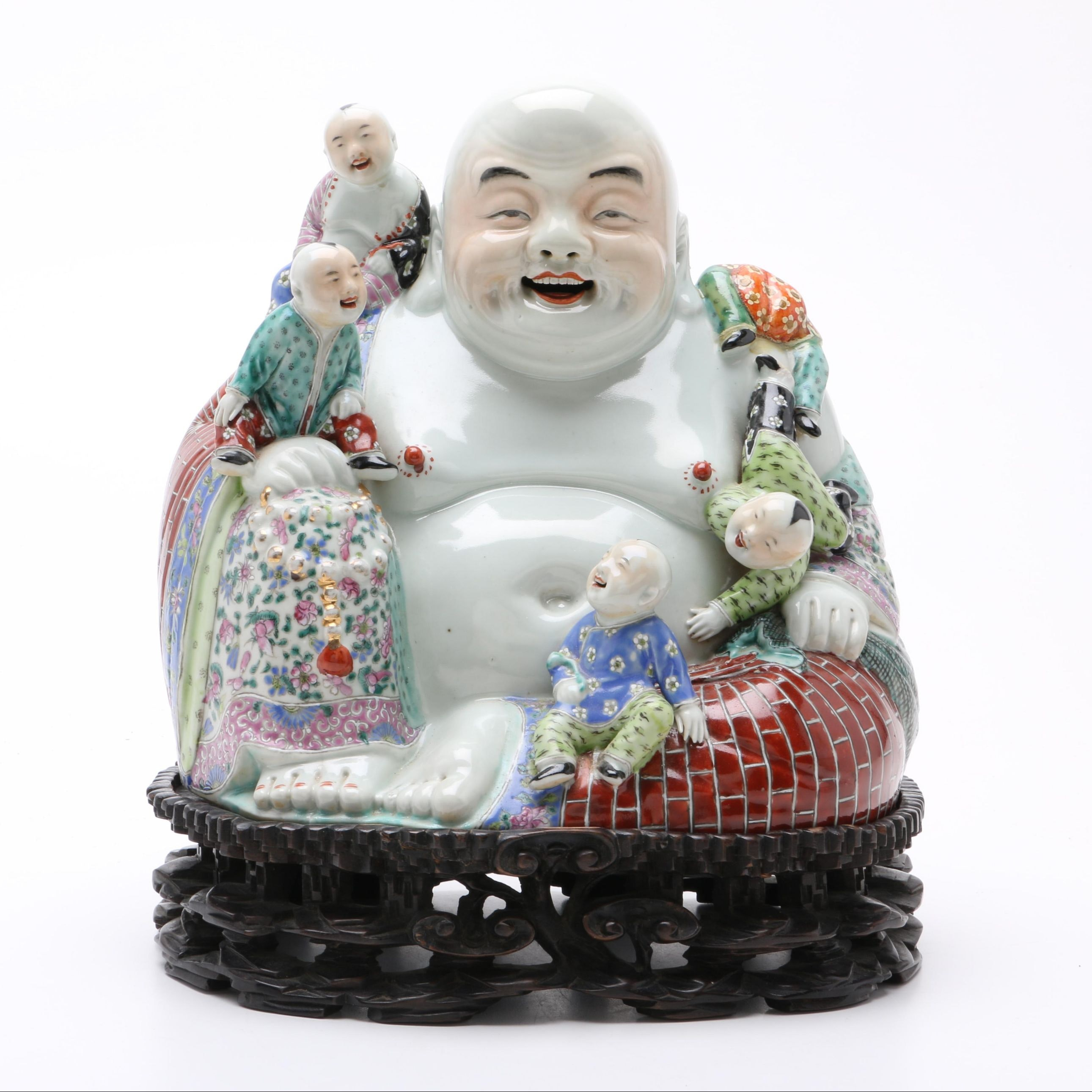 Chinese Budai Five Children Porcelain Figurine