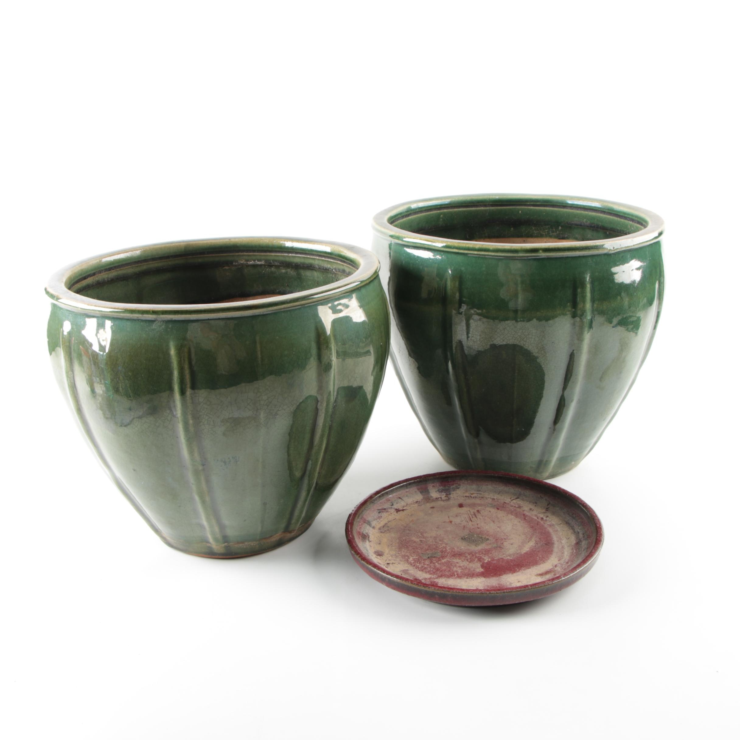 Two Green Pottery Planters
