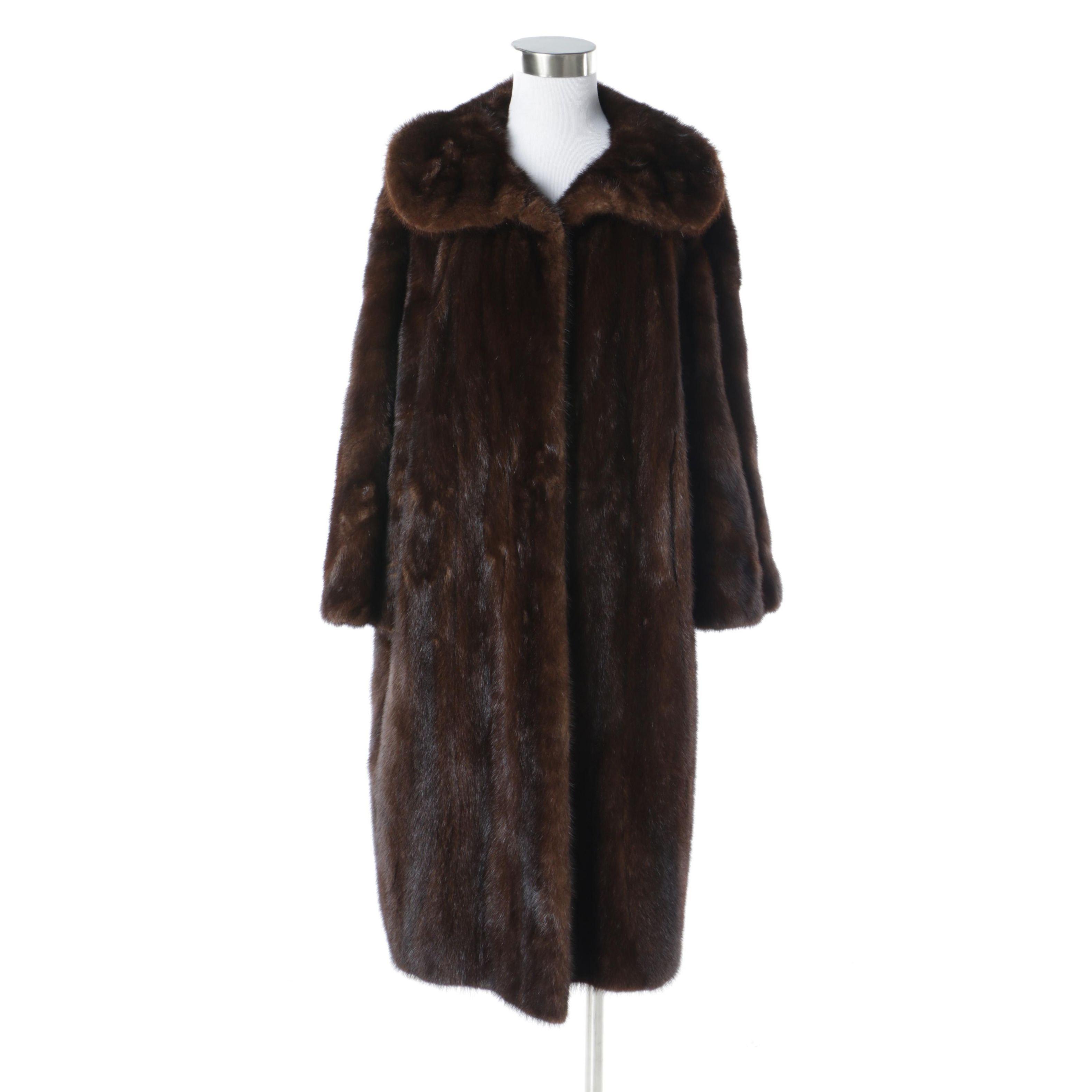 Leonard Furs of Baltimore Mahogany Mink Fur Coat