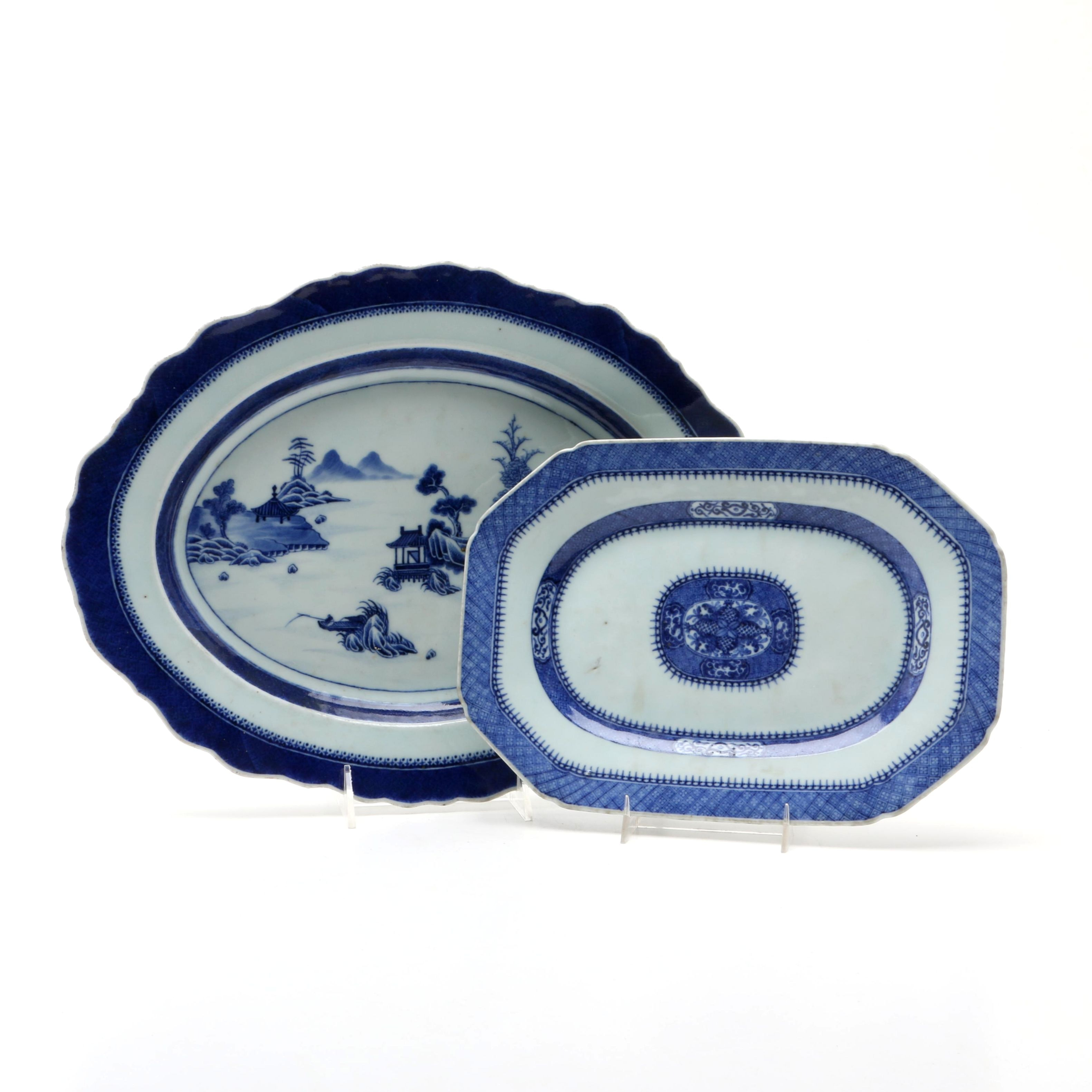 Antique Nanking Blue and White Chinese Export Porcelain Platters