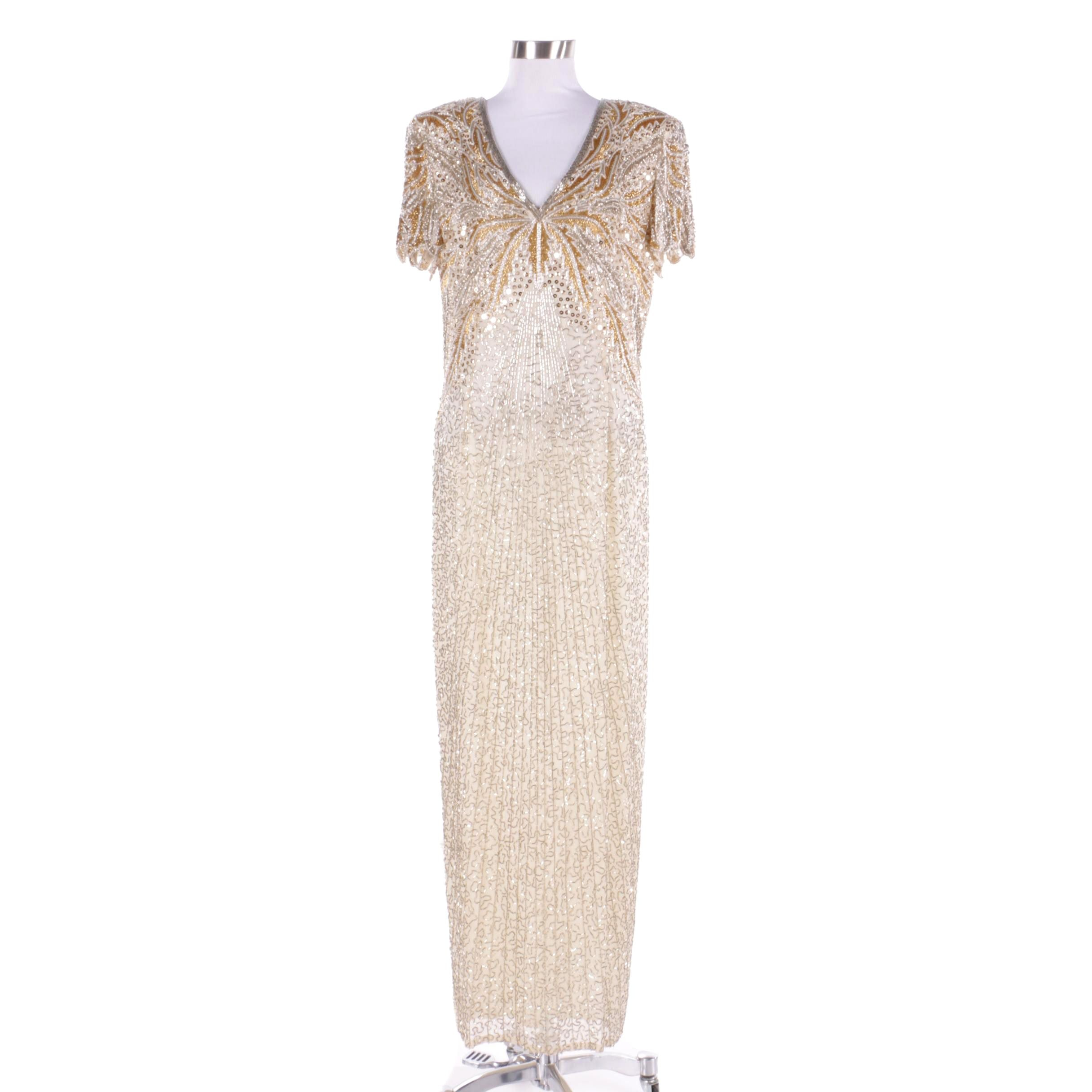 Vintage Beaded Silk Evening Gown