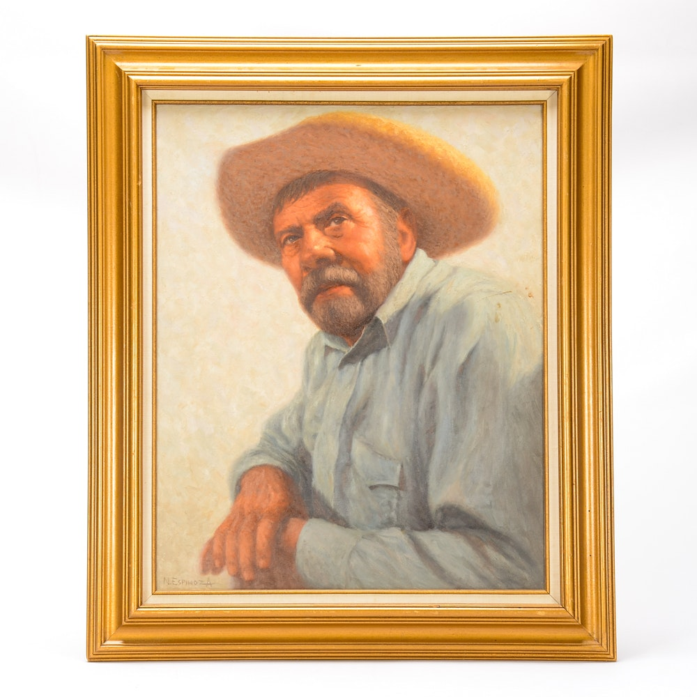 "Noel Espinoza Oil on Canvas Portrait Painting ""El Jefe"""