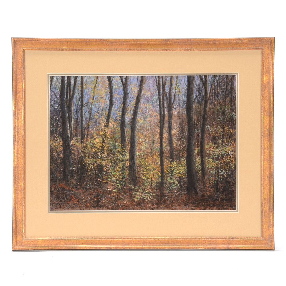 "Phillip Joseph Pastel Drawing on Paper ""October Trees"""