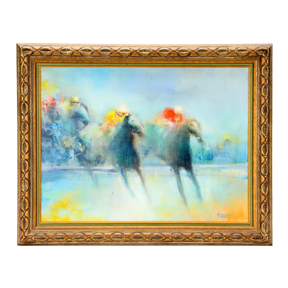 Armand Lourenco Oil Painting on Canvas of Horse Race