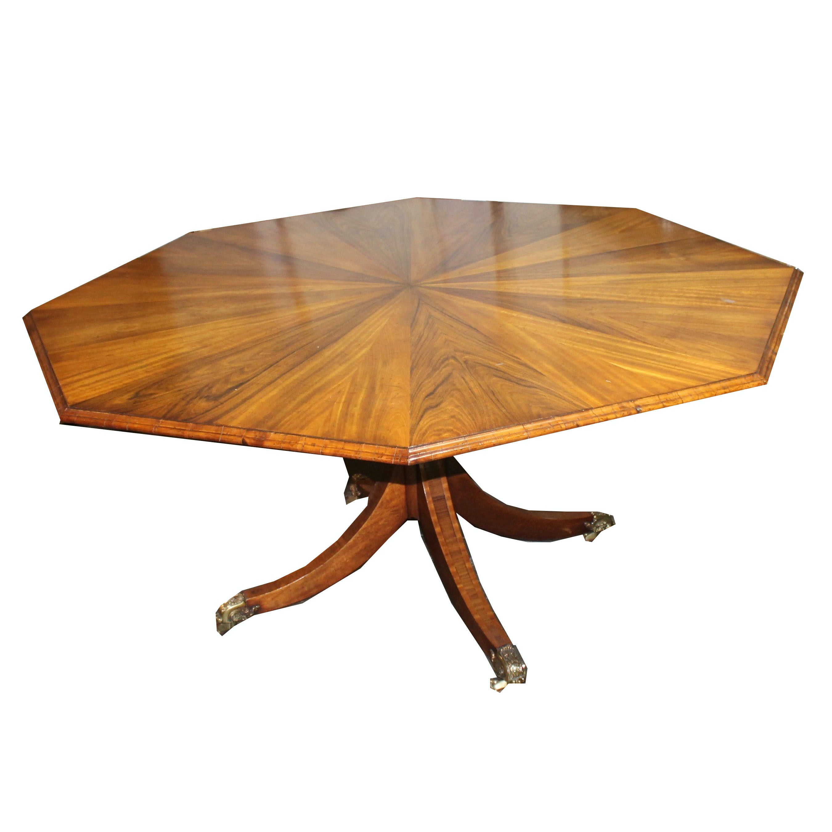 Vintage Walnut and Maple Veneer Octagonal Table
