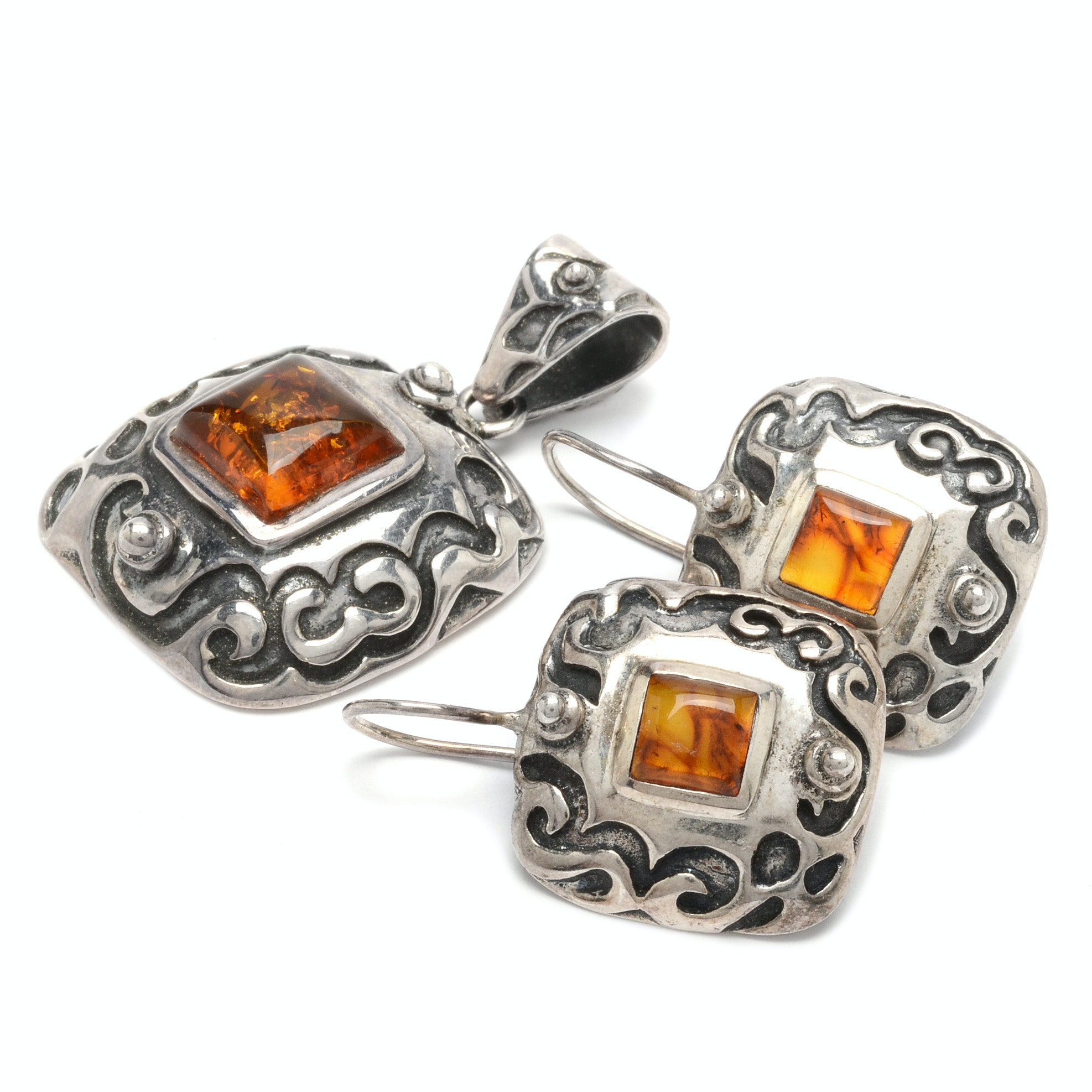 Signed Southwestern Style Sterling Silver and Amber Demi Parure