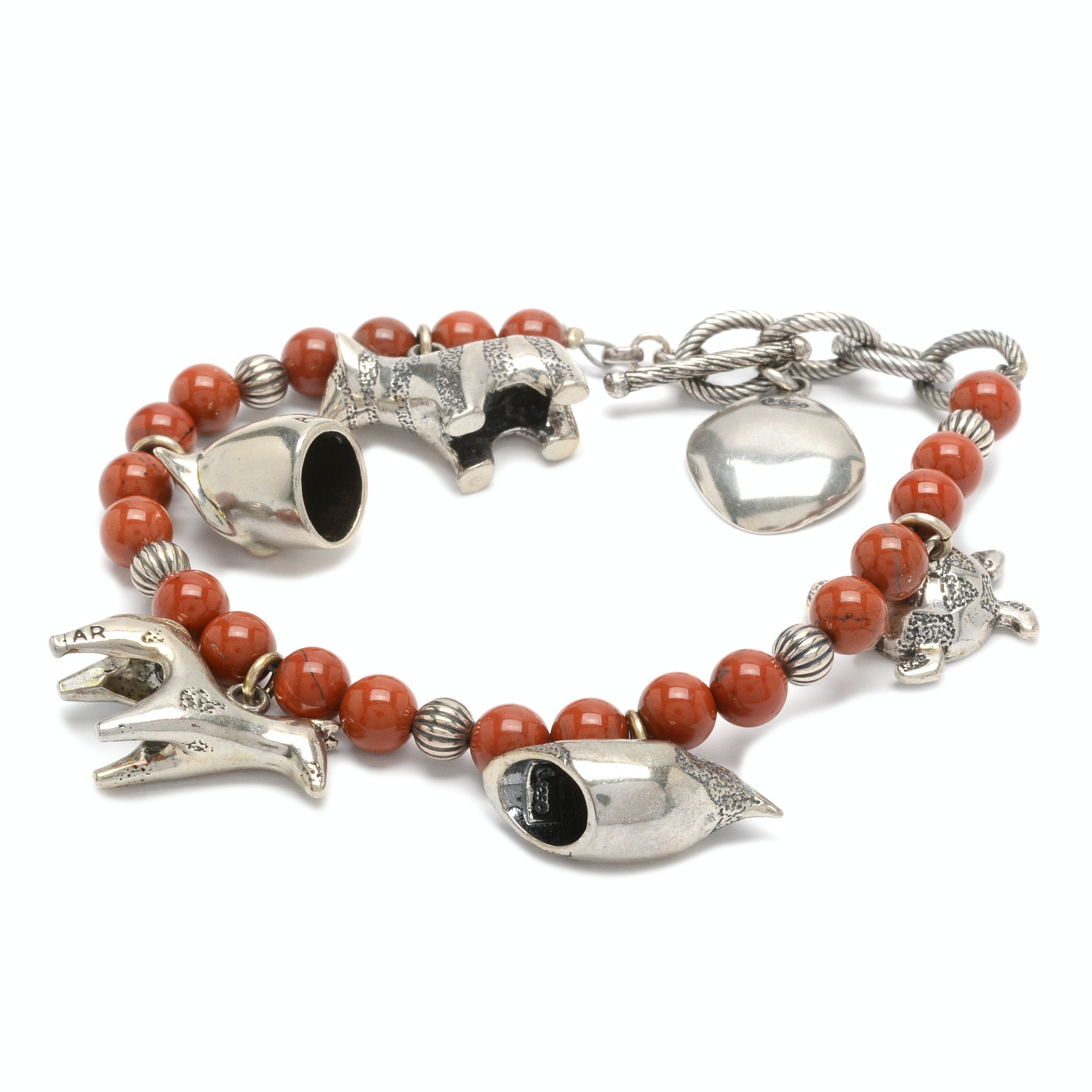 Andrew Rodriguez for Carolyn Pollack Sterling Silver and Coral Charm Bracelet