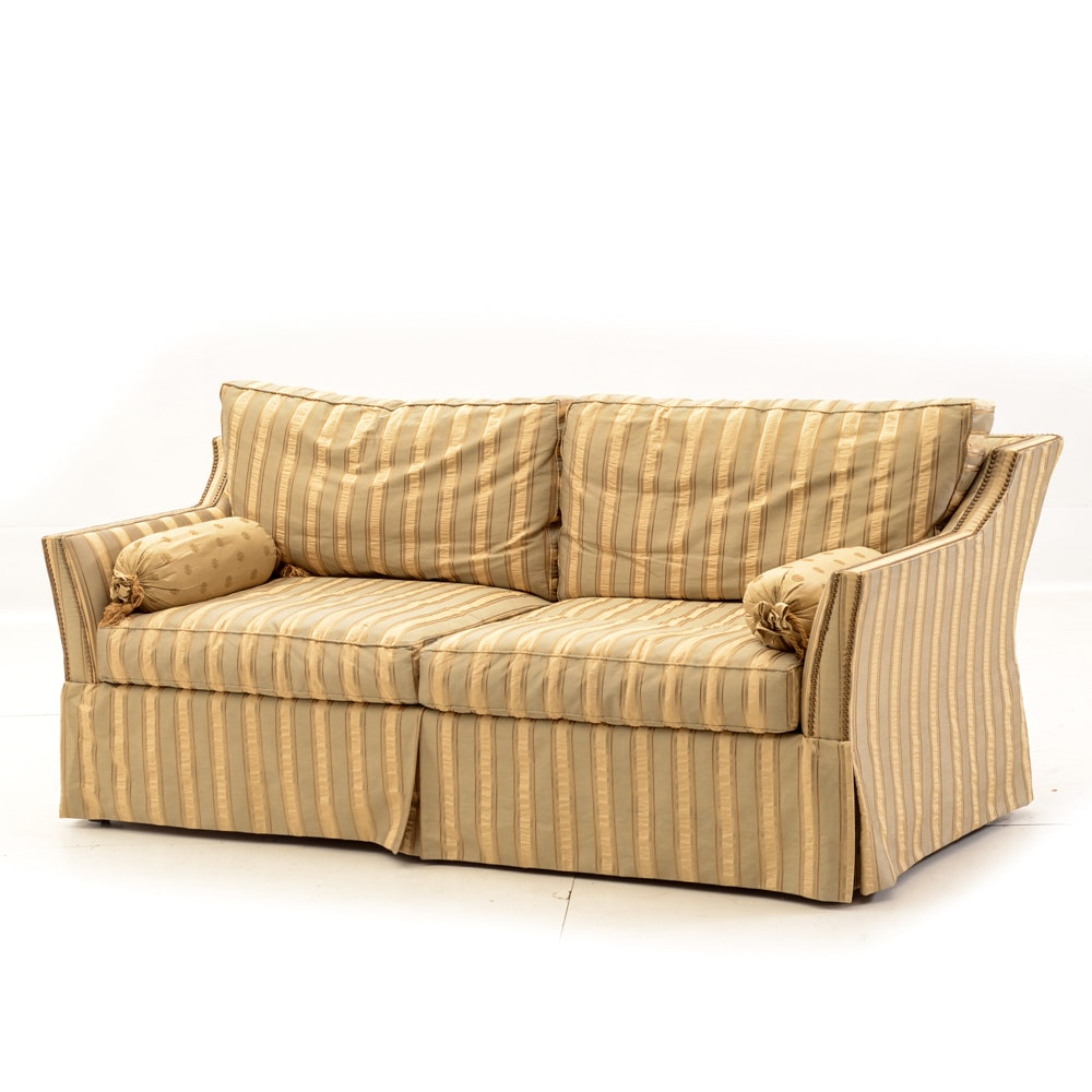 Contemporary Striped Damask Sofa