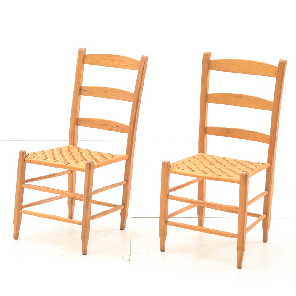 Antique Hickory Side Chairs with Split Woven Seats