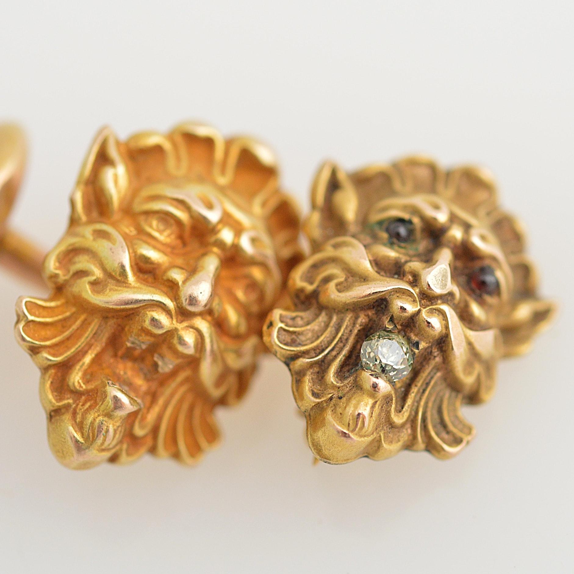 Aeolus 10K Yellow Gold Cufflink and 10K Yellow Gold Diamond Garnet Brooch