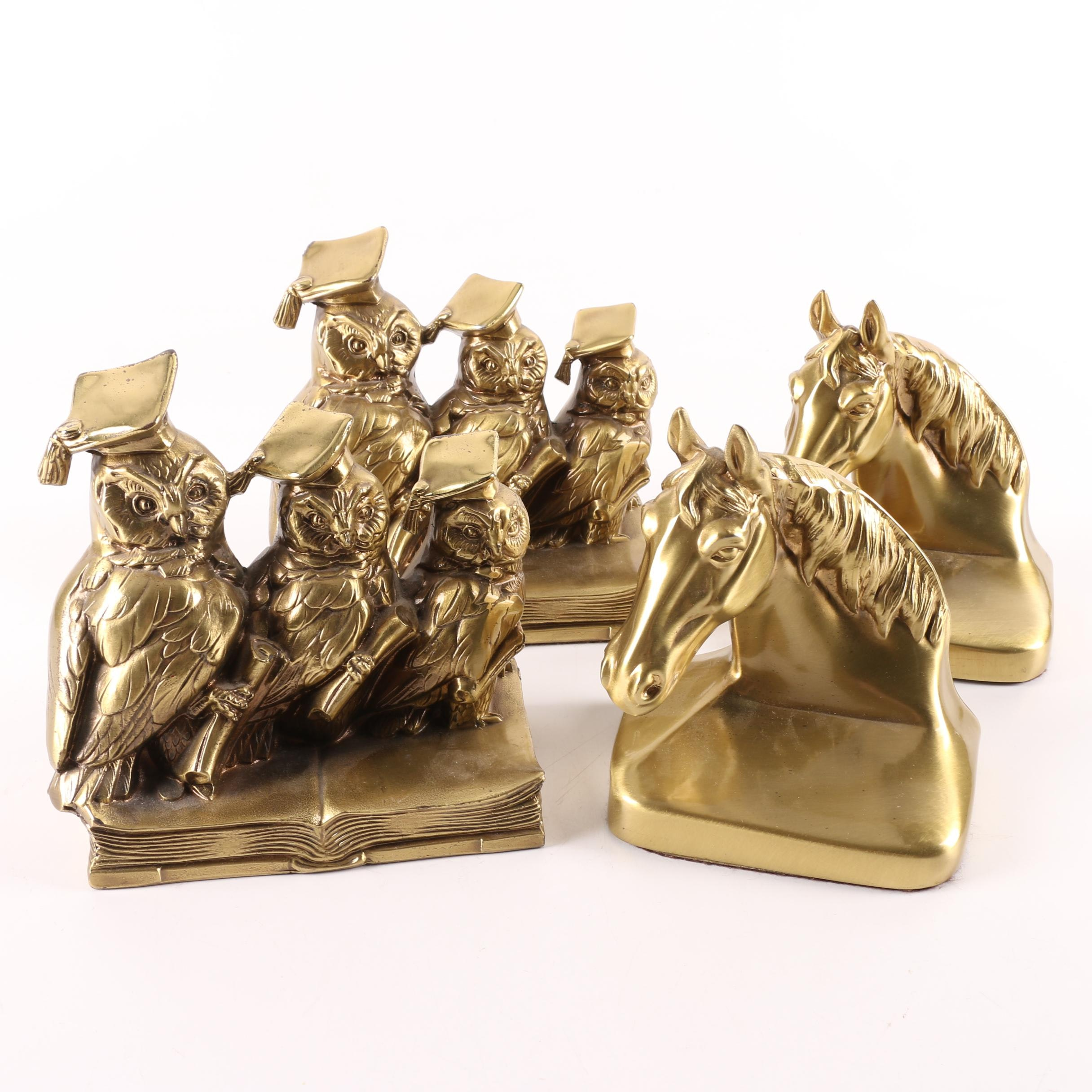 Two Pairs of Brass Bookends