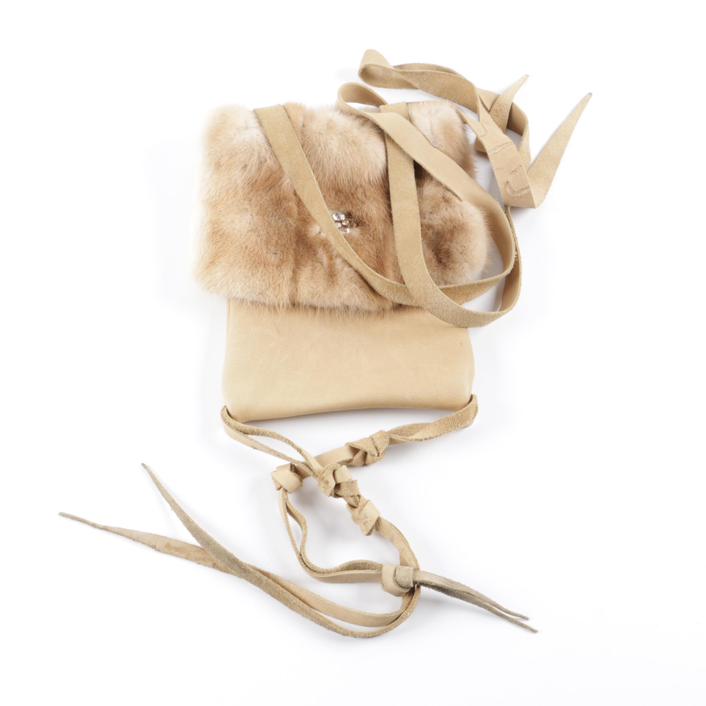 Danna Lea Mink Fur and Leather Crossbody Handbag