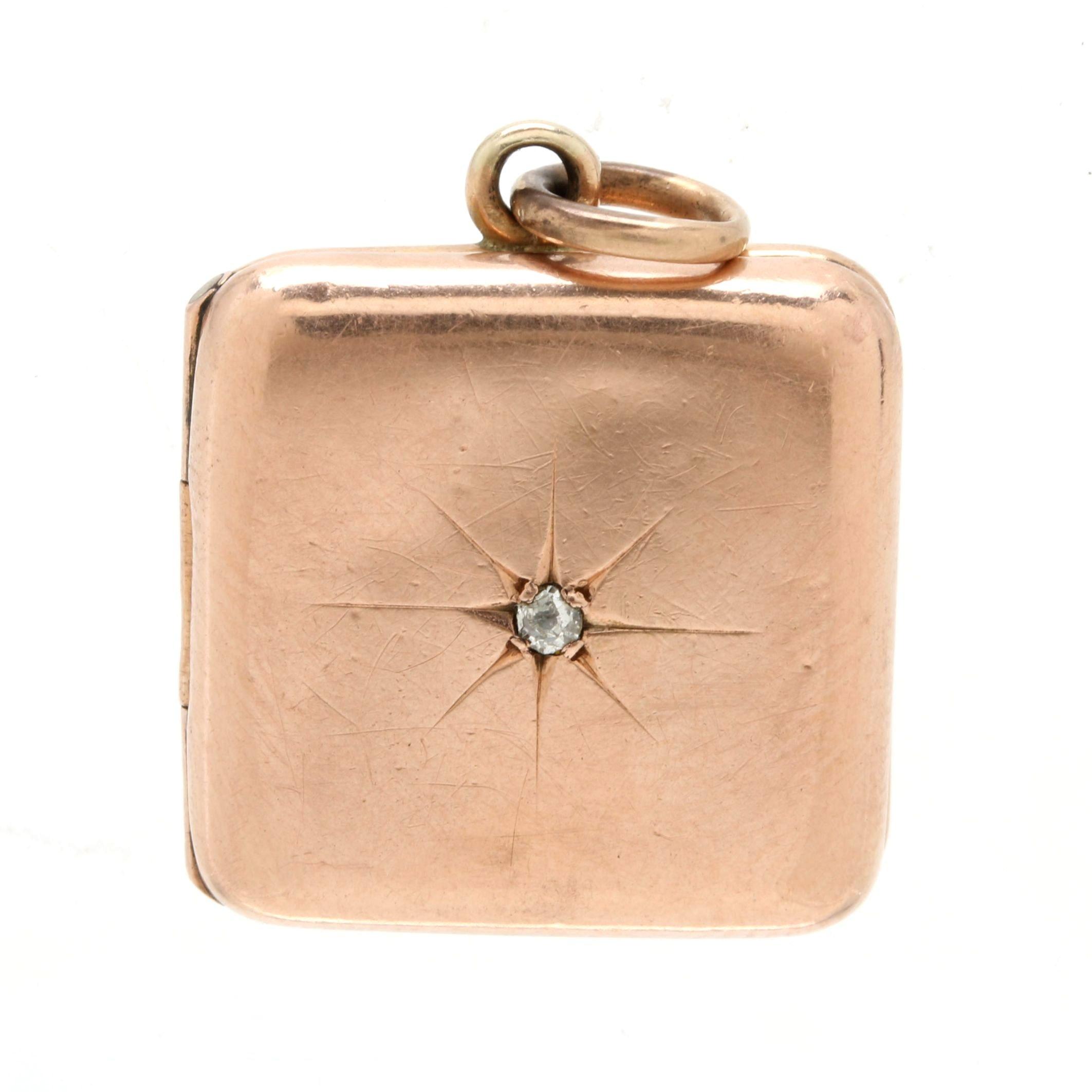 Victorian 10K Rose Gold Diamond Square Locket Pendant