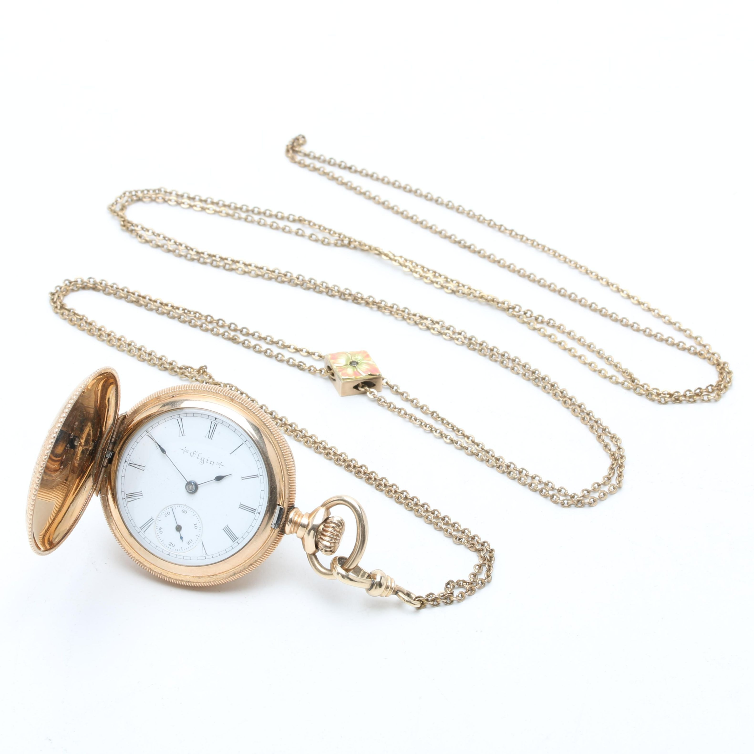 Antique Elgin Gold-Filled Pocket Watch with Fob Chain and 10K Gold Slide Charm