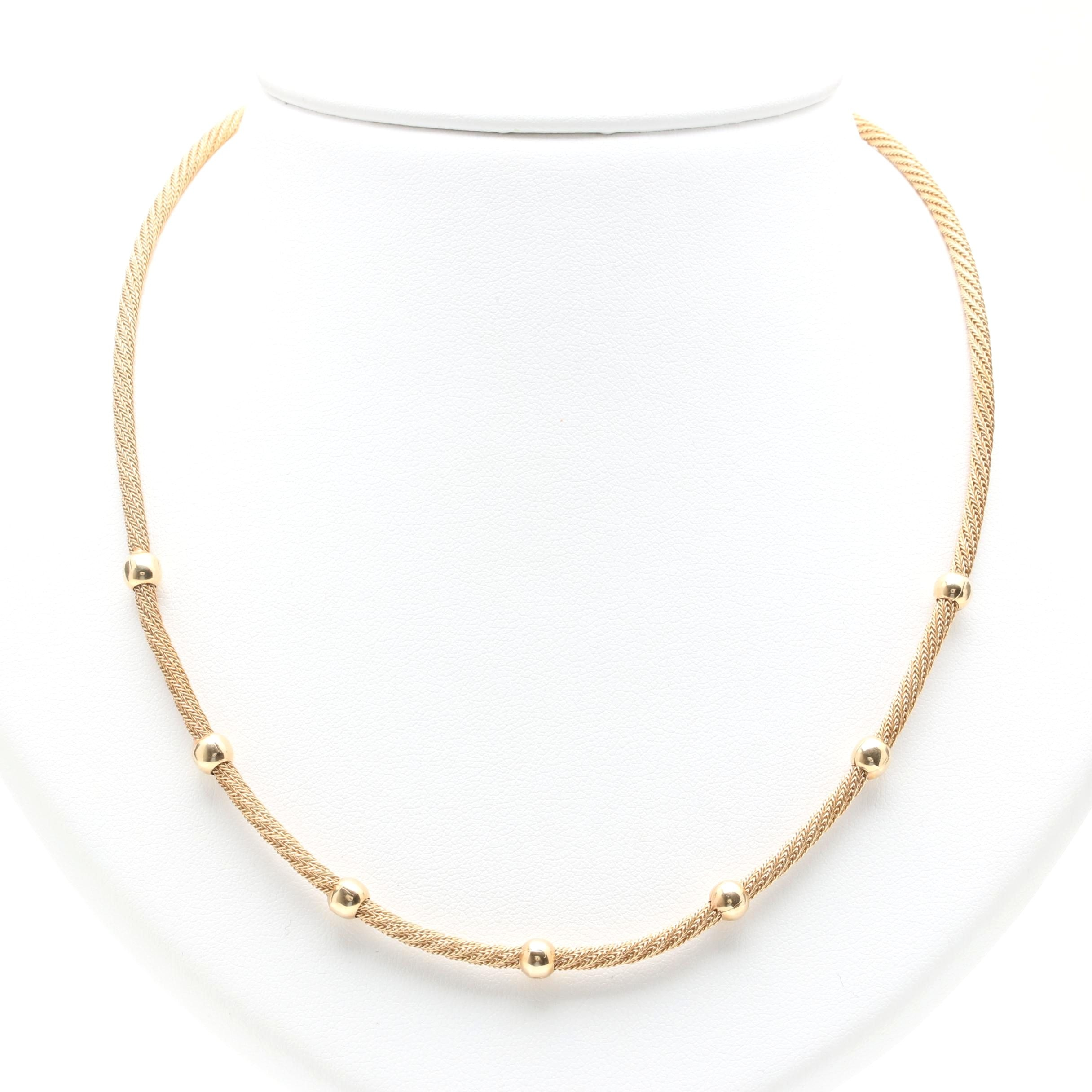 Italian 14K Yellow Gold Station Necklace