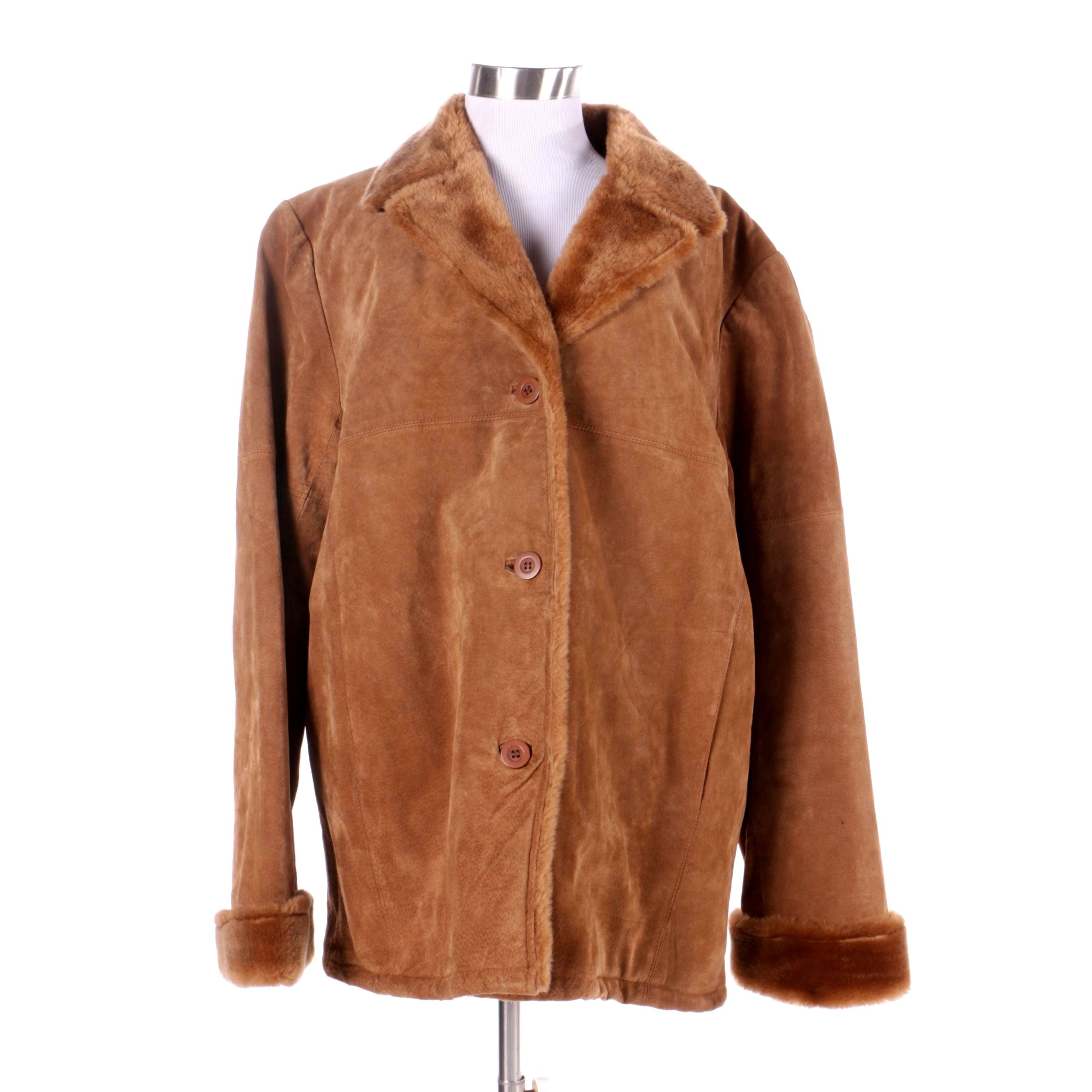 Women's D' Carlo Brown Suede and Faux Fur Jacket