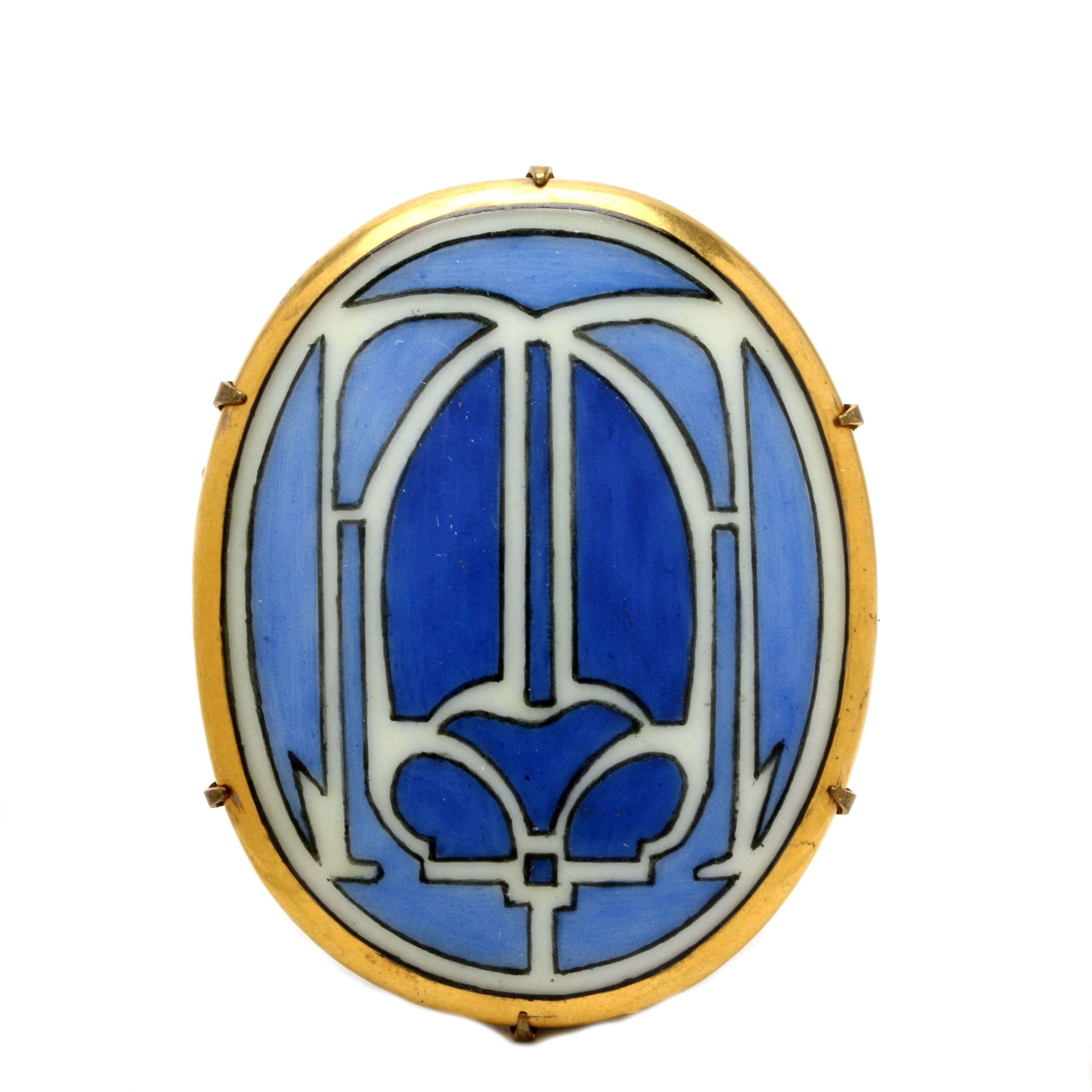 Arts & Crafts Gold-Tone Hand-Painted Porcelain Scarab Brooch