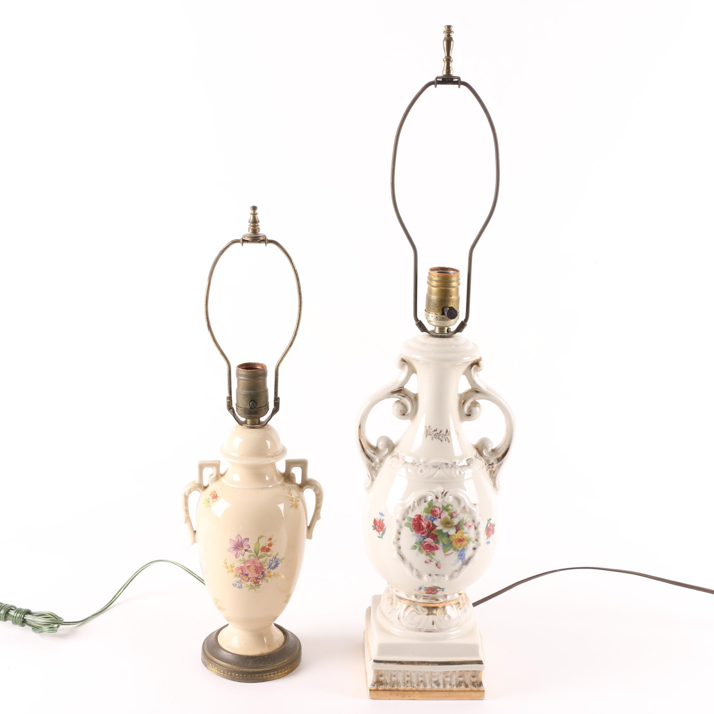 Vintage Floral Ceramic Urn Table Lamps