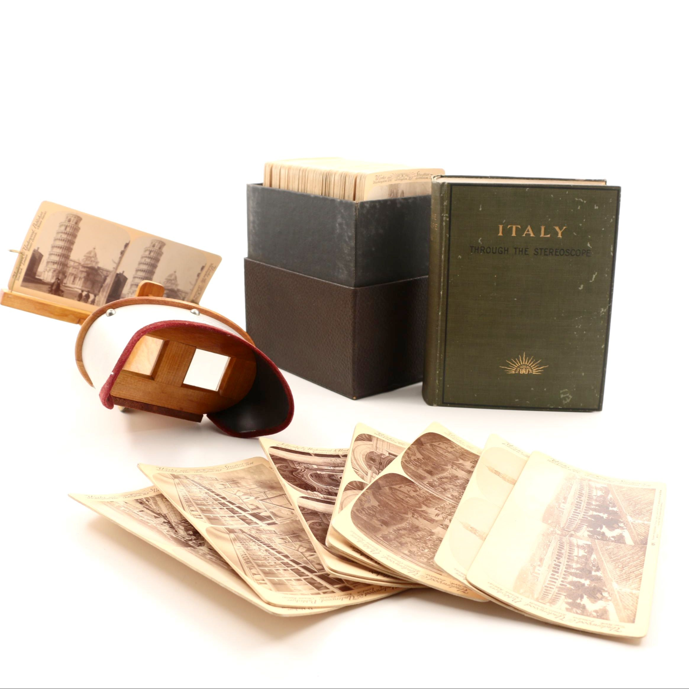 "1903 Edition Set of ""Italy through the Stereoscope"" with Stereoscope"