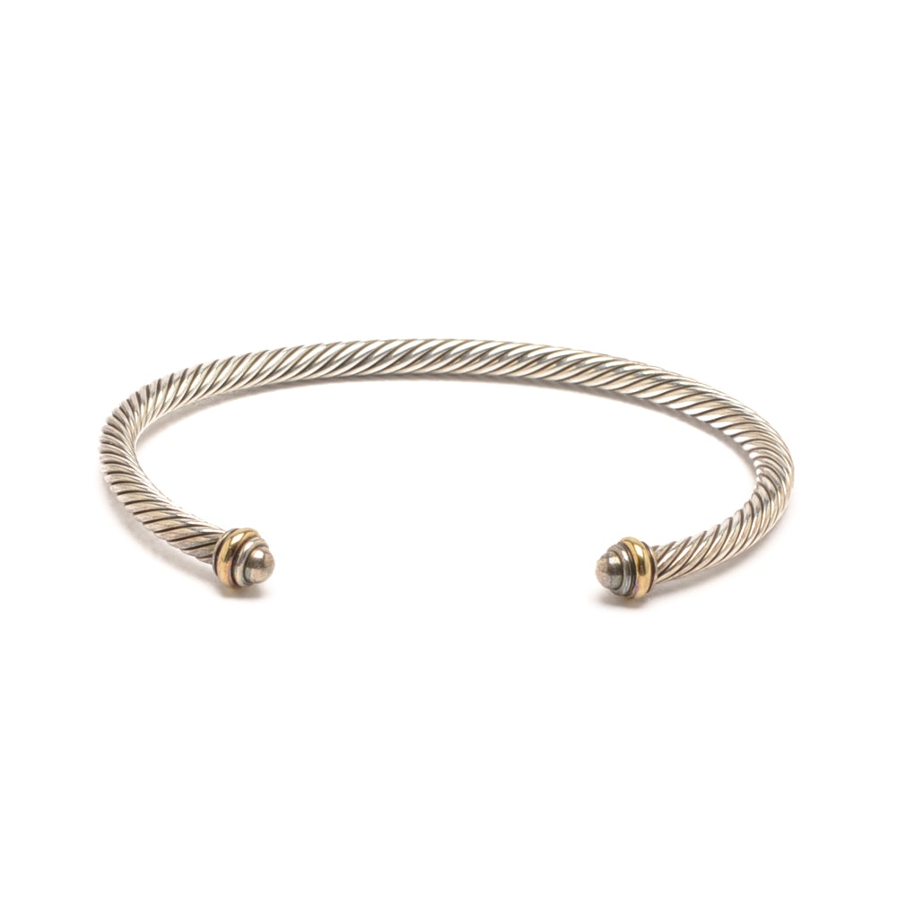 David Yurman Sterling Silver Cuff Bracelet with 18K Yellow Gold Accents