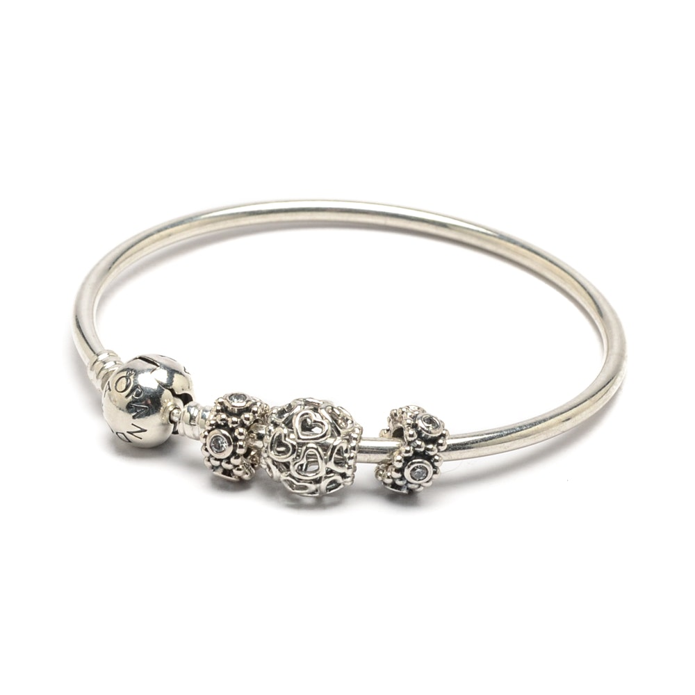 Pandora Sterling Silver Bangle Bracelet with Charms