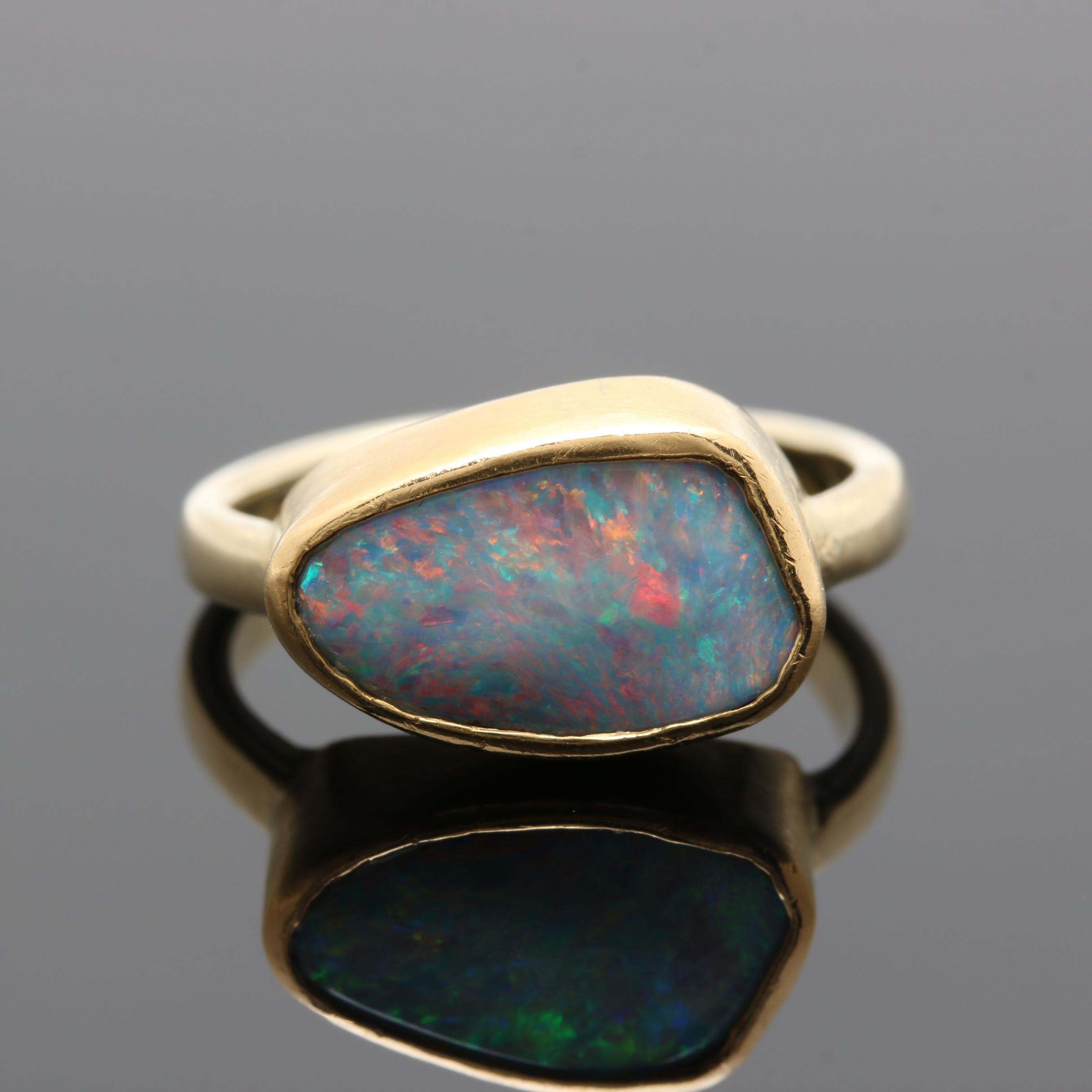14K and 22K Yellow Gold Opal Ring