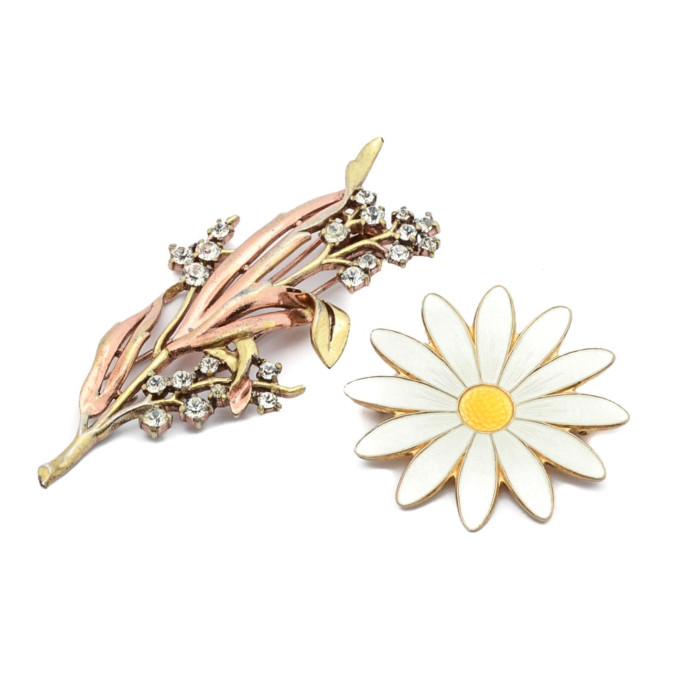 Aksel Holmsen Sterling Silver Flower and Crown Trifari Brooches