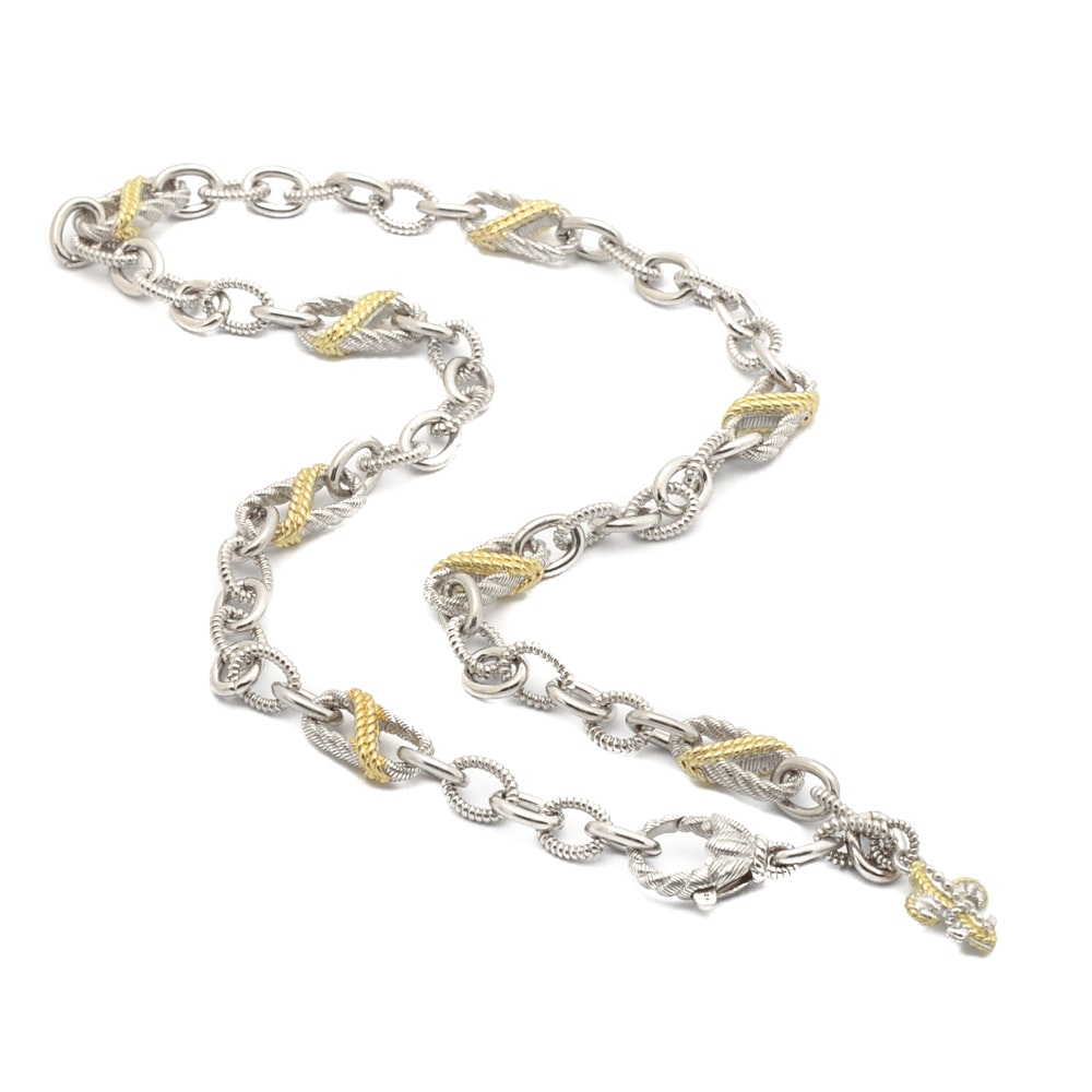 Judith Ripka Sterling Silver Two Tone Toggle Necklace