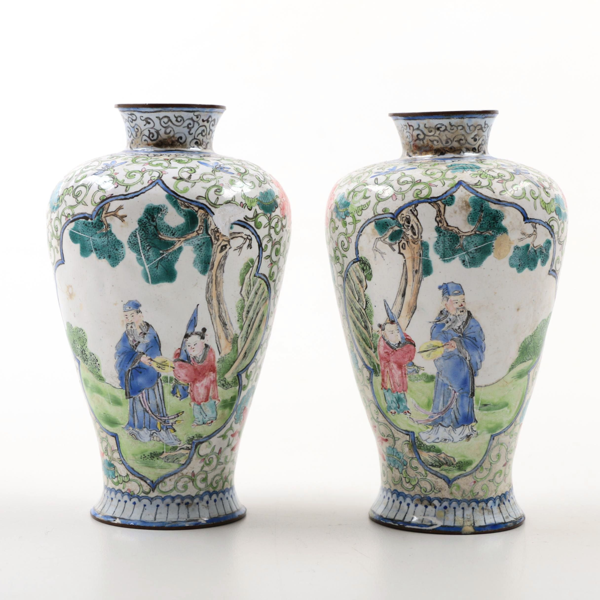 19th Century Chinese Canton Enamel Miniature Vases