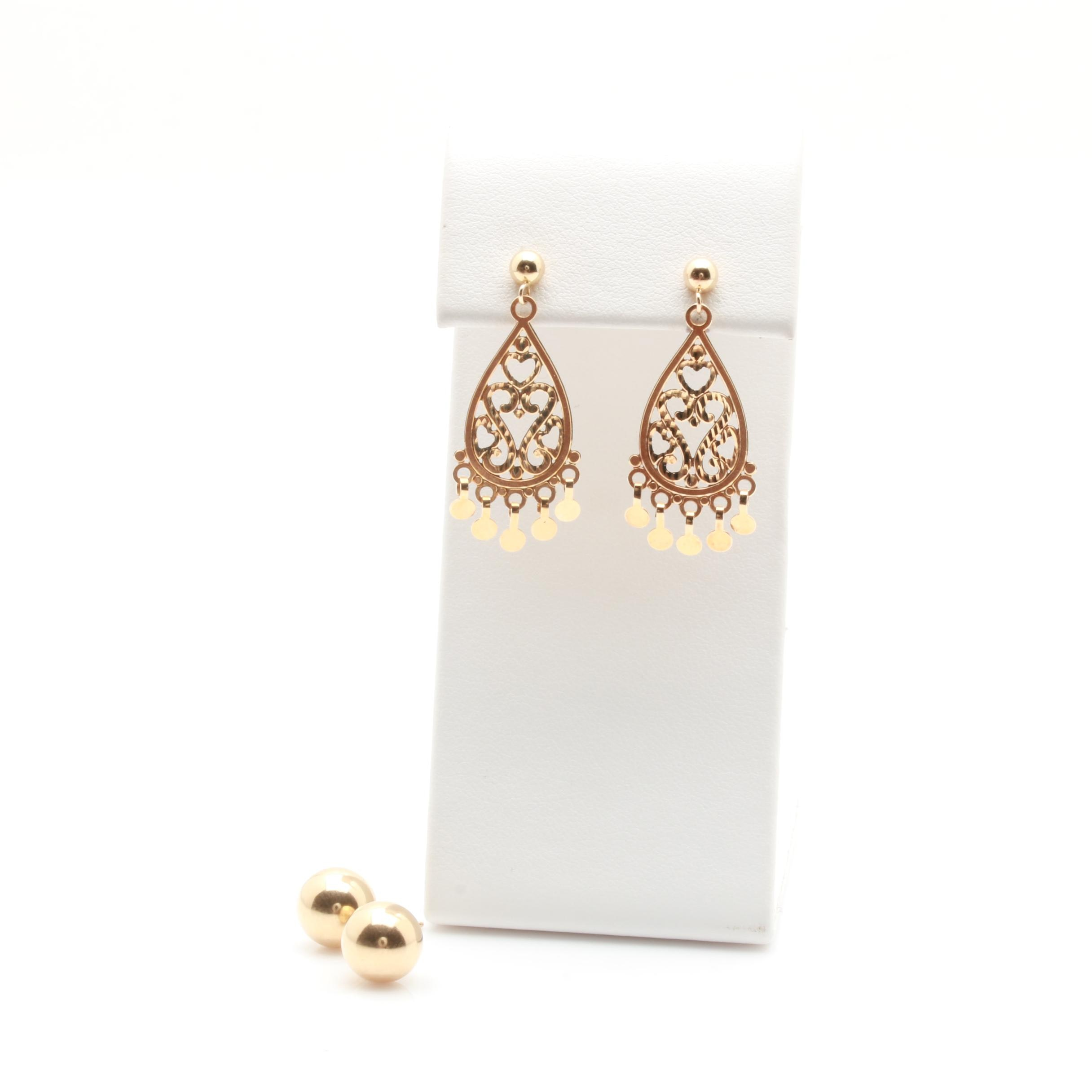 14K Yellow Gold Ball Stud and Chandelier Style Earrings