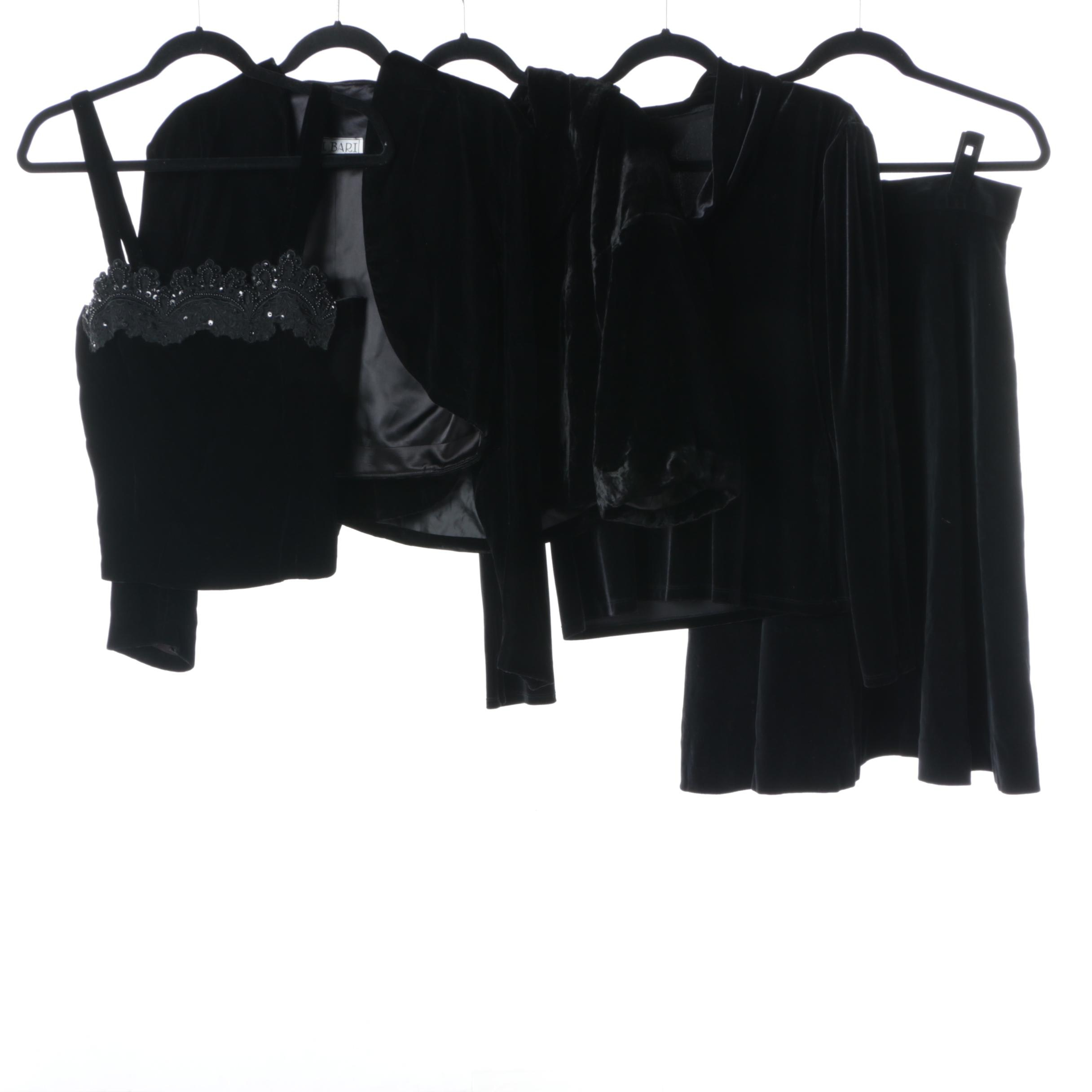 Women's Black Velvet Evening Wear Including Willi Smith