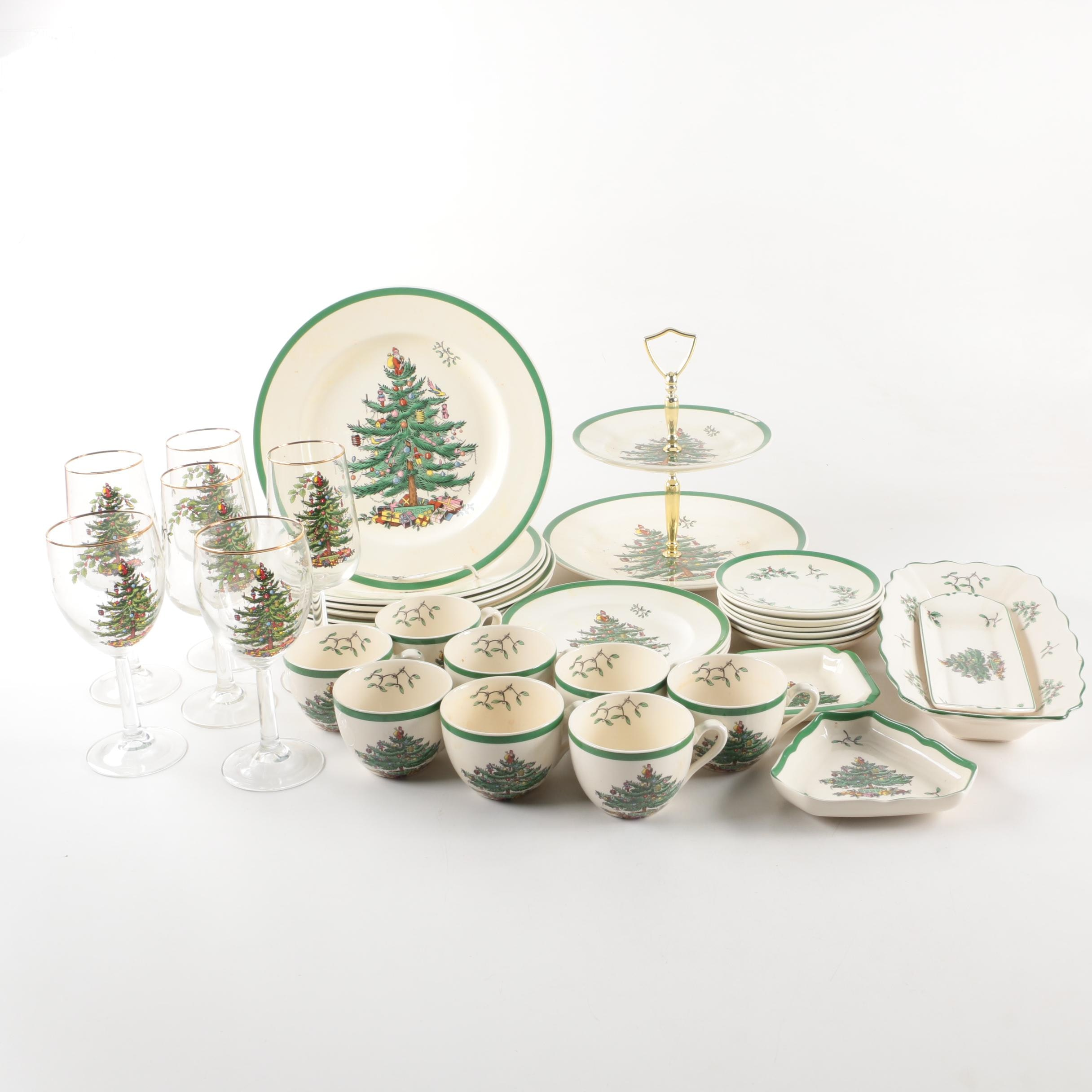 """Spode """"Christmas Tree"""" Dinnerware and Serving Dishes"""